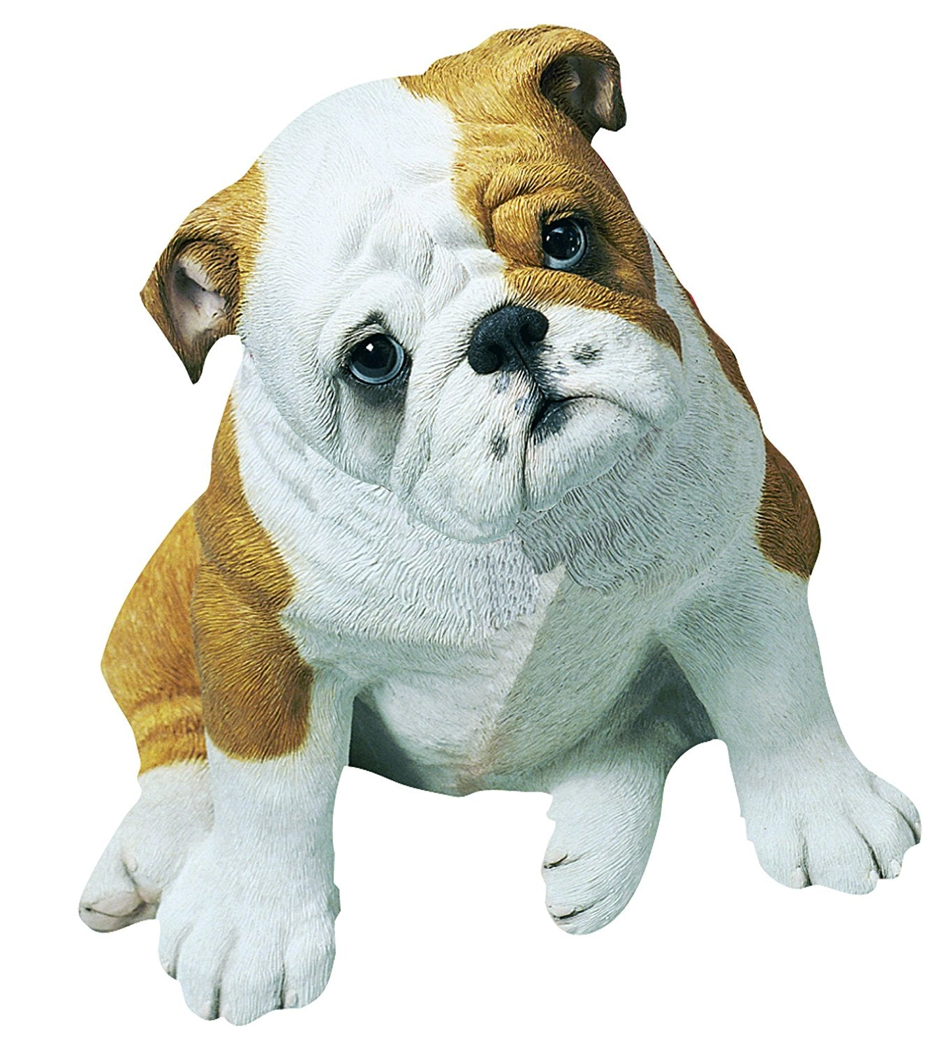 "Sandicast ""Life Size"" Sitting Fawn Bulldog Pup Dog Sculpture"