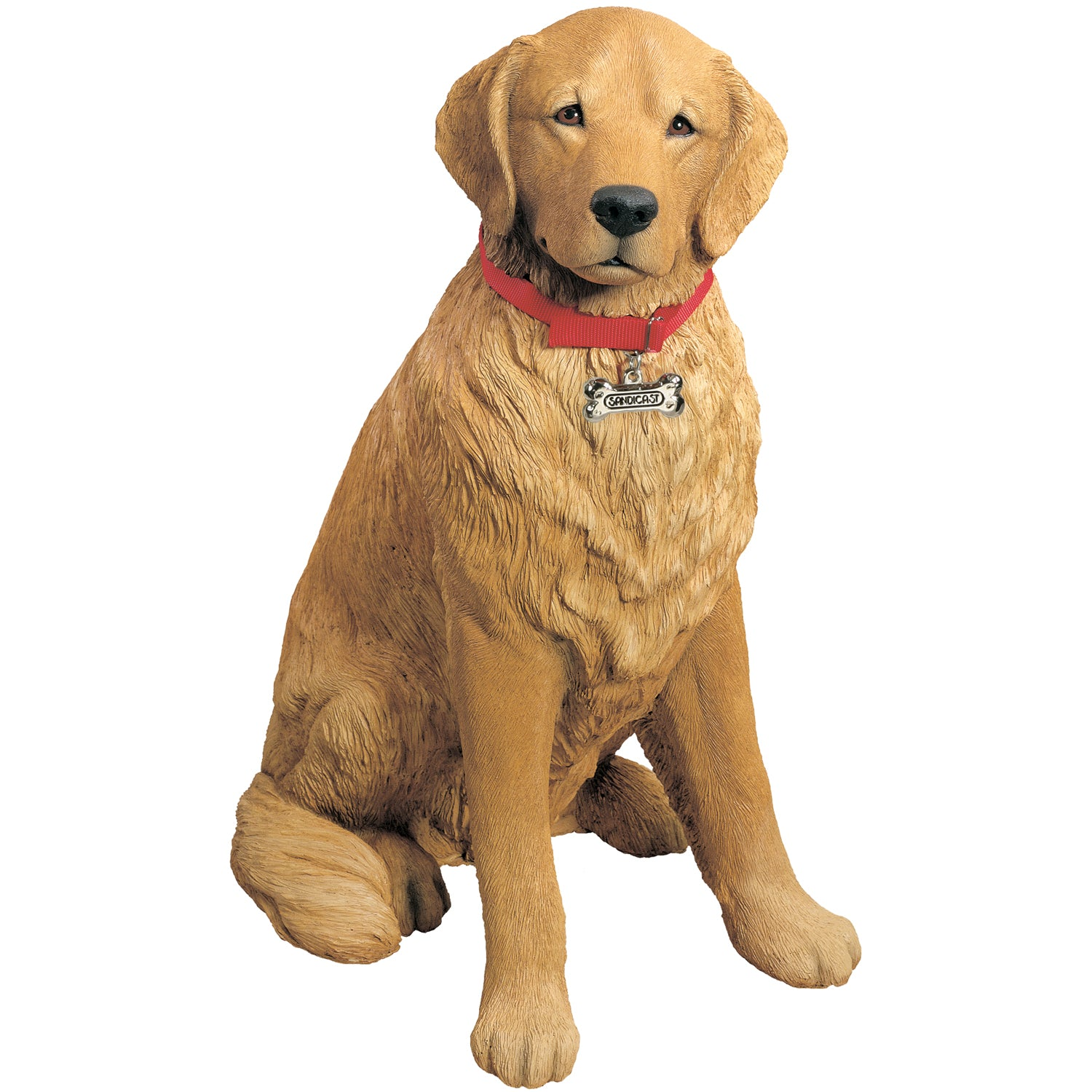 "Sandicast ""Life Size Large"" Sitting Golden Retriever Dog Sculpture"
