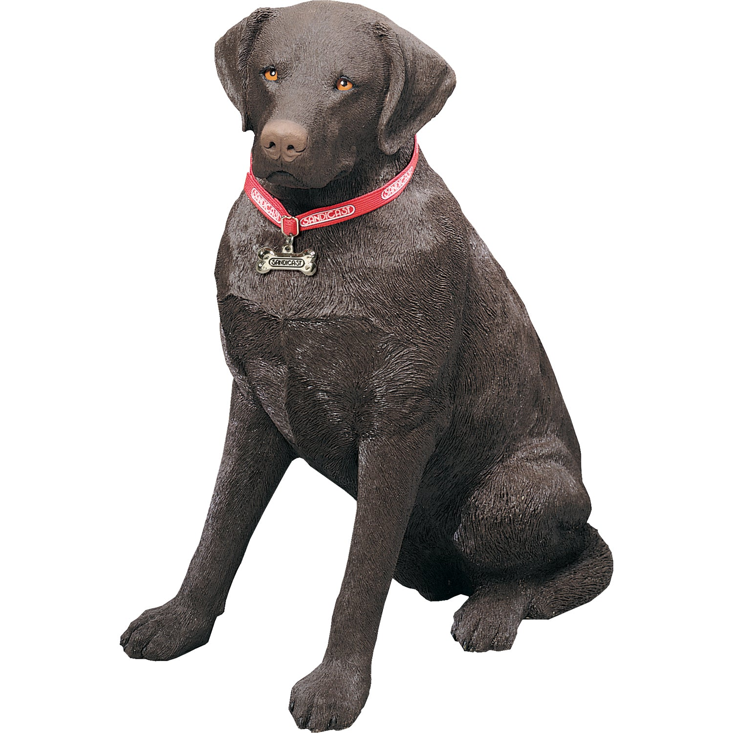 "Sandicast ""Life Size Large"" Sitting Chocolate Labrador Retriever Dog Sculpture"
