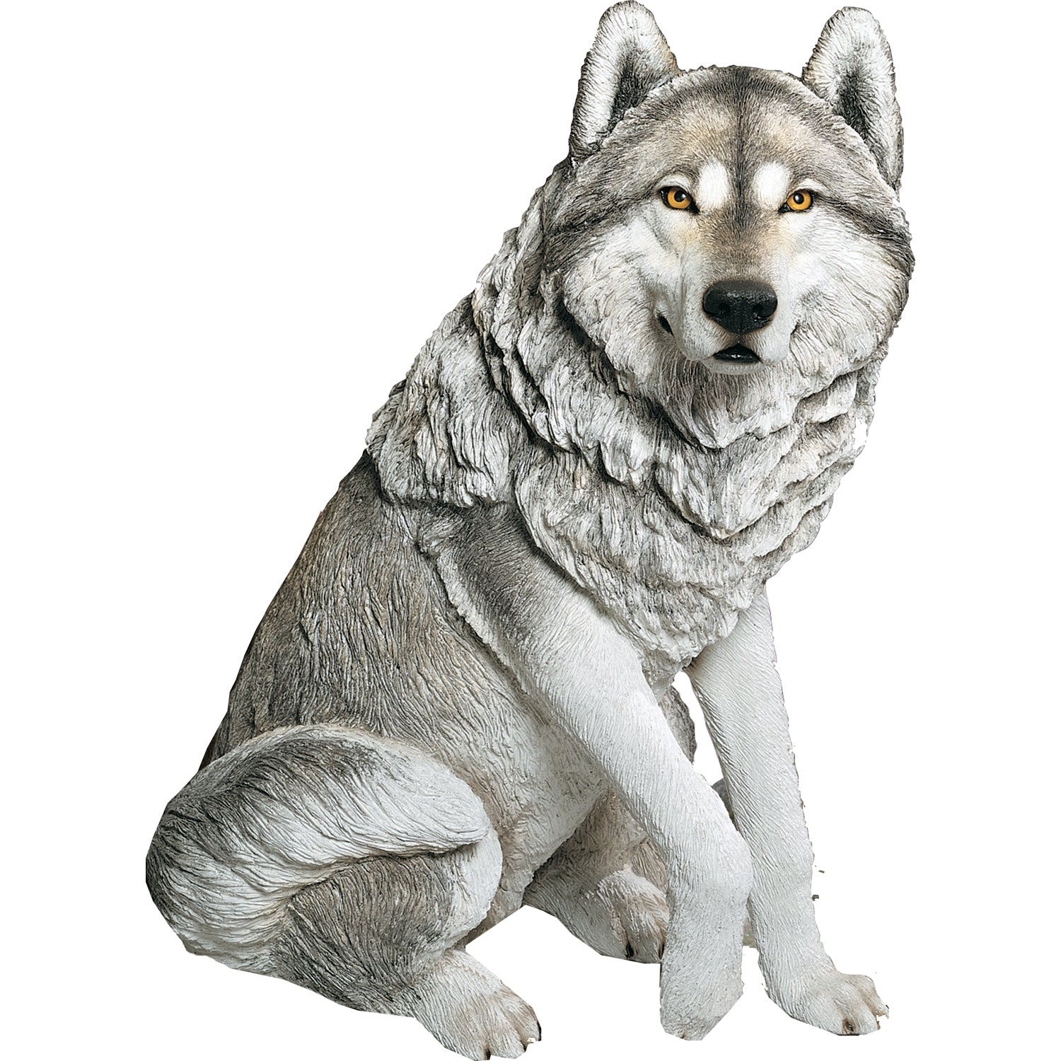 "Sandicast ""Life Size Large"" Sitting Gray Wolf Sculpture"