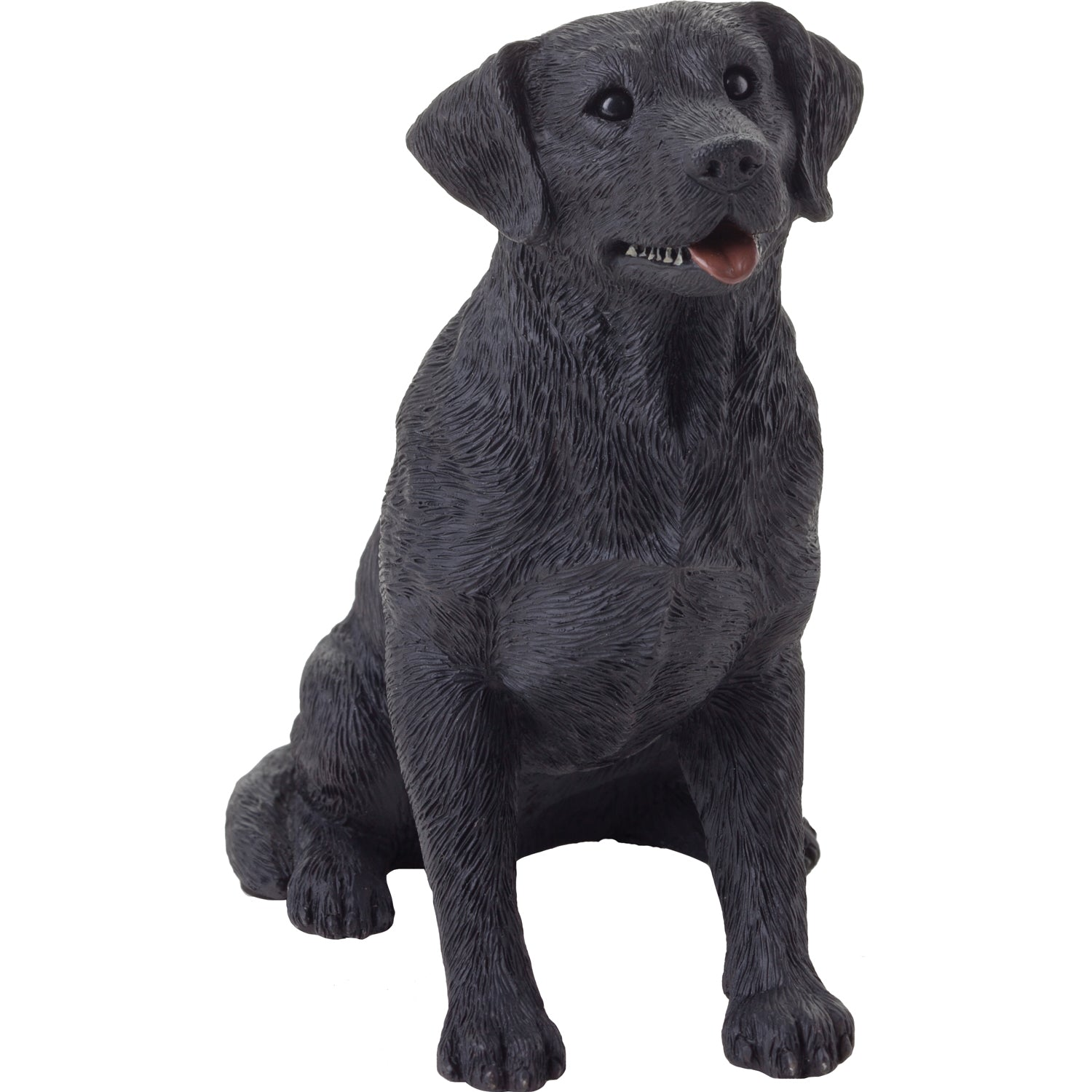 "Sandicast ""Mid Size"" Sitting Black Labrador Retriever Dog Sculpture"