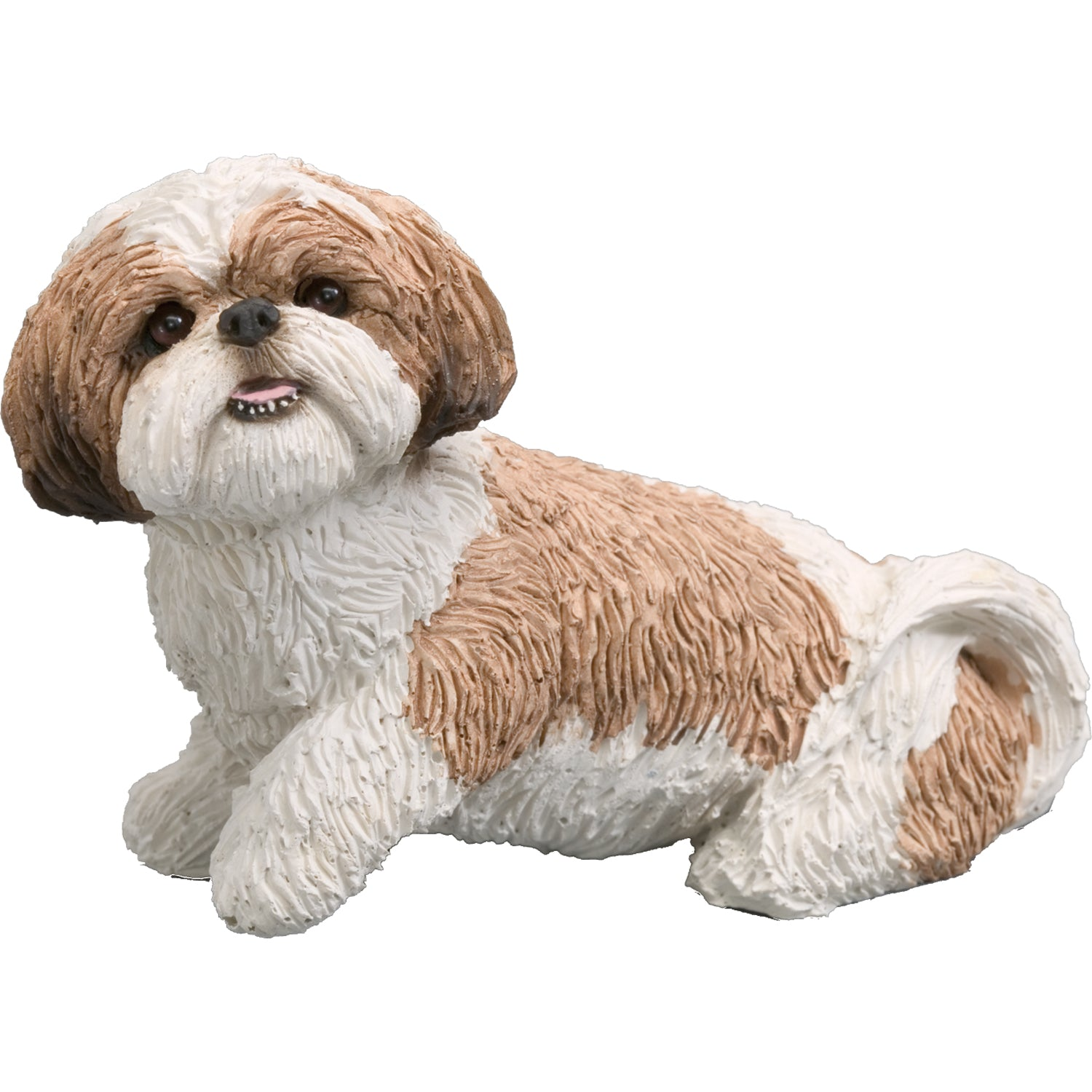 "Sandicast ""Mid Size"" Sitting Gold & White Shih Tzu Dog Sculpture"