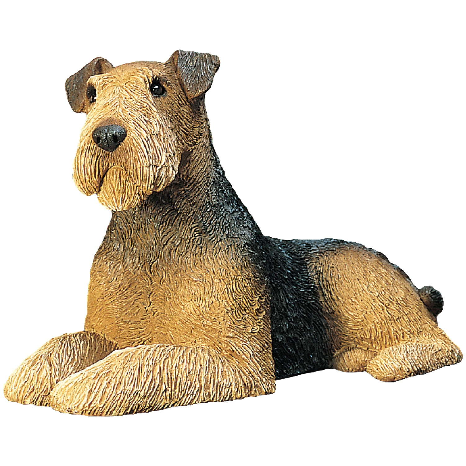 "Sandicast ""Mid Size"" Lying Airedale Terrier Dog Sculpture"