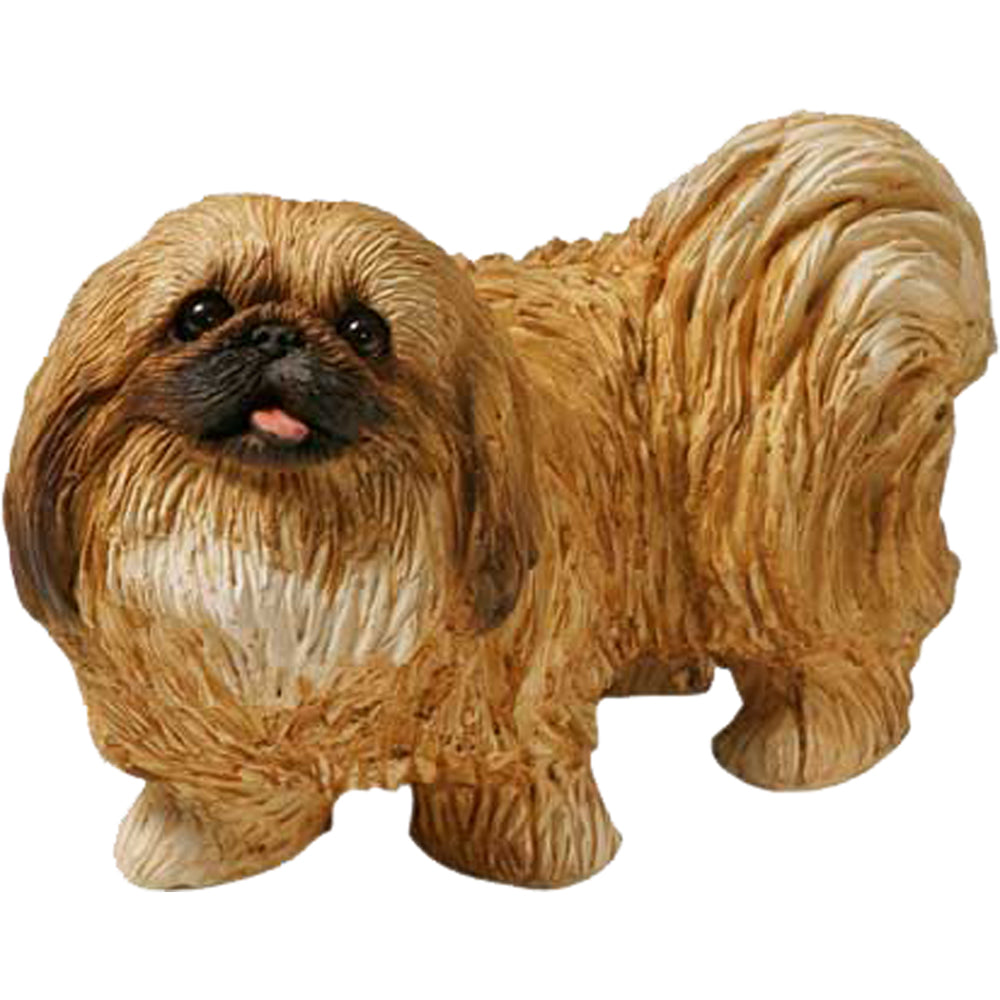 "Sandicast ""Mid Size"" Standing Red Pekingese Dog Sculpture"
