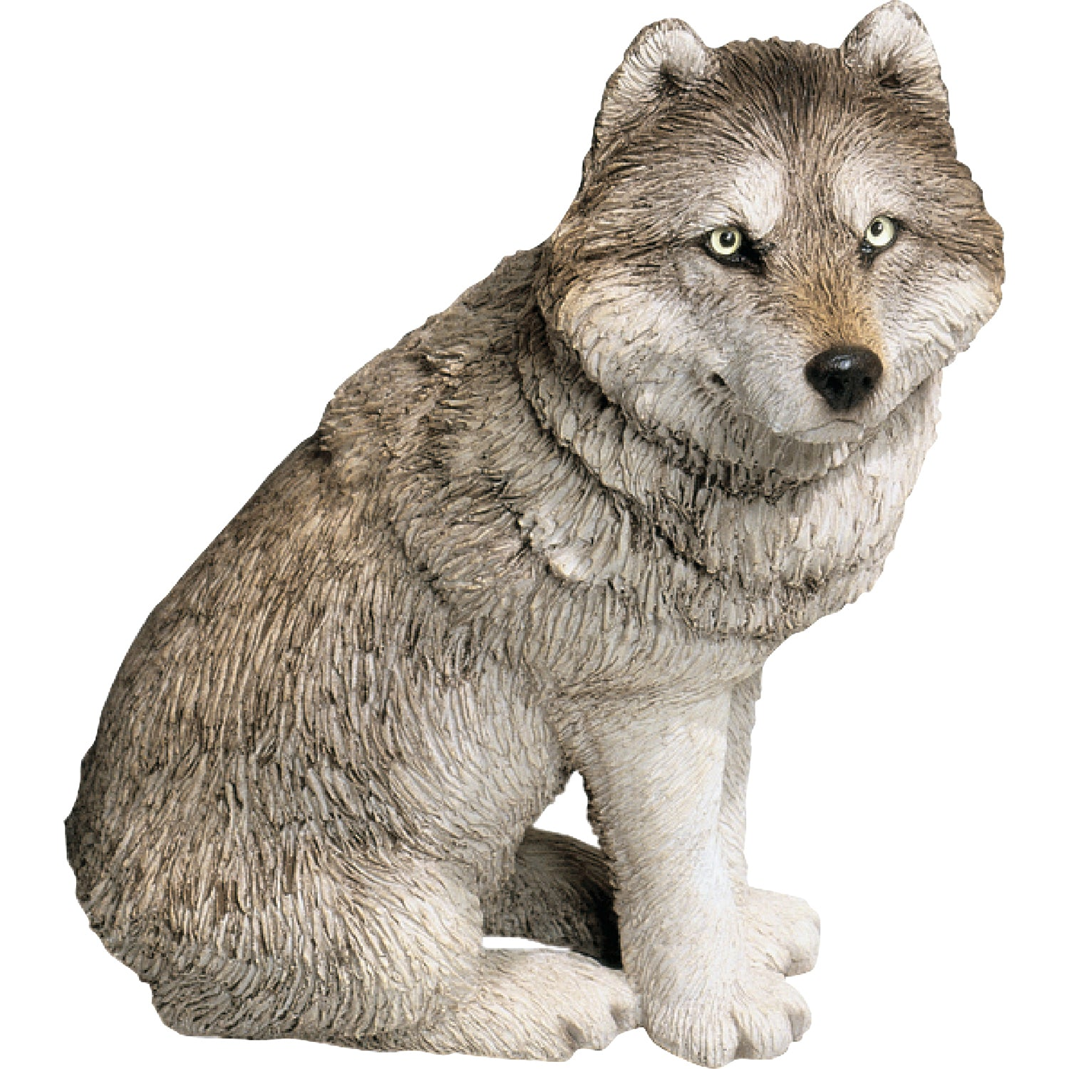 "Sandicast ""Mid Size"" Sitting Gray Wolf Sculpture"
