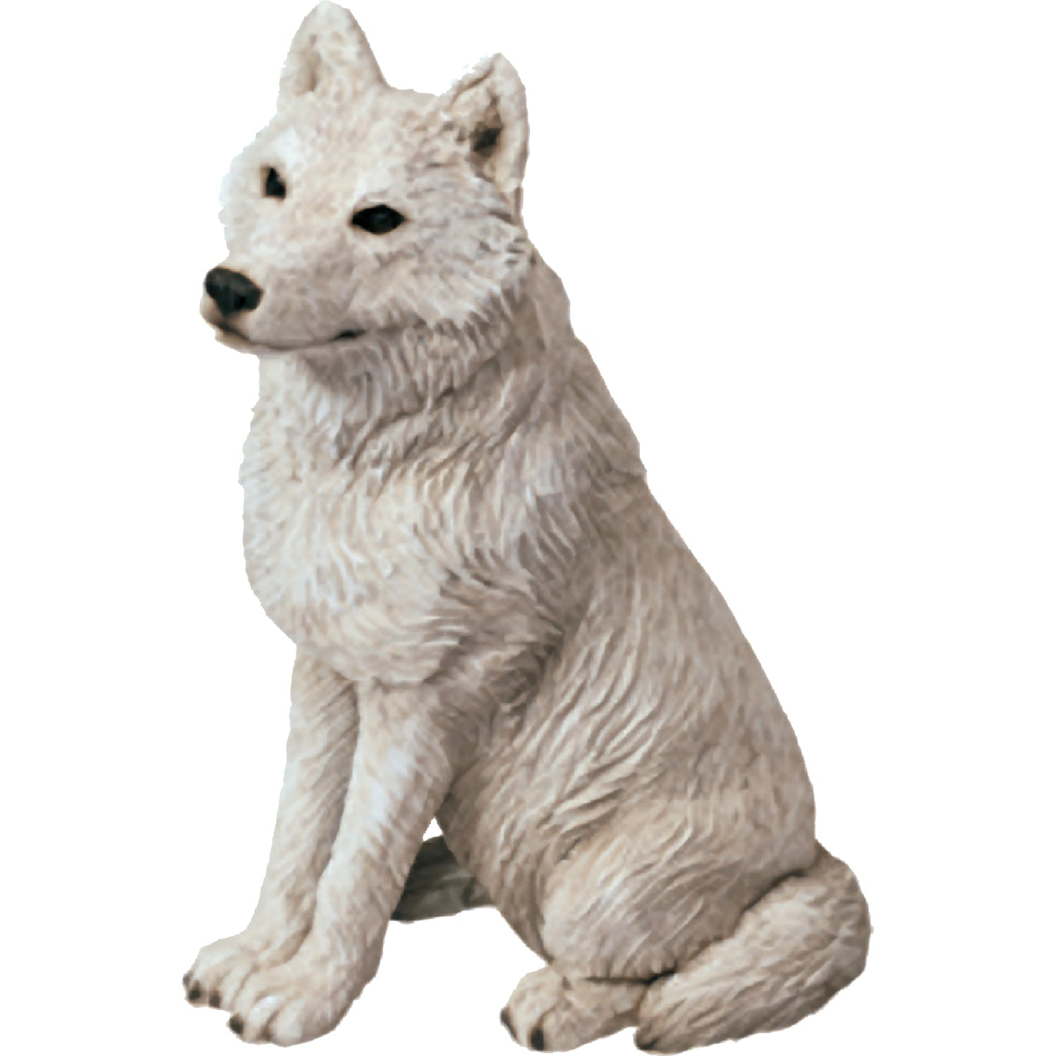 "Sandicast ""Mid Size"" Sitting Gray Artic Wolf Sculpture"