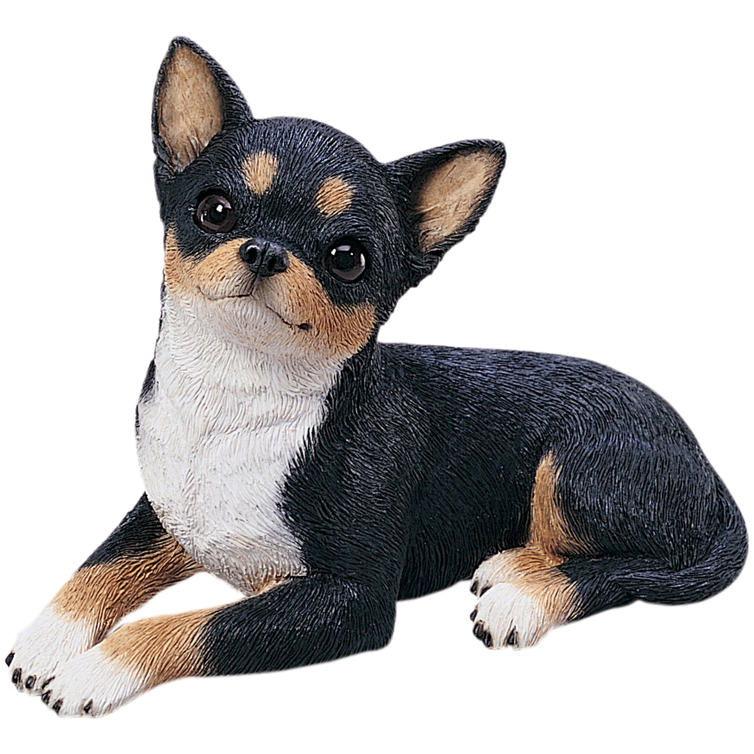 "Sandicast ""Original Size"" Lying Tri Chihuahua Dog Sculpture"