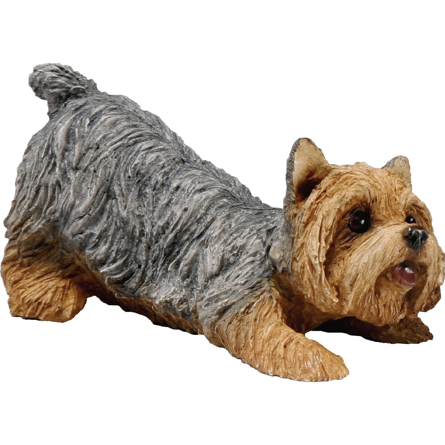 "Sandicast ""Small Size"" Crouching Yorkshire Terrier Dog Sculpture"