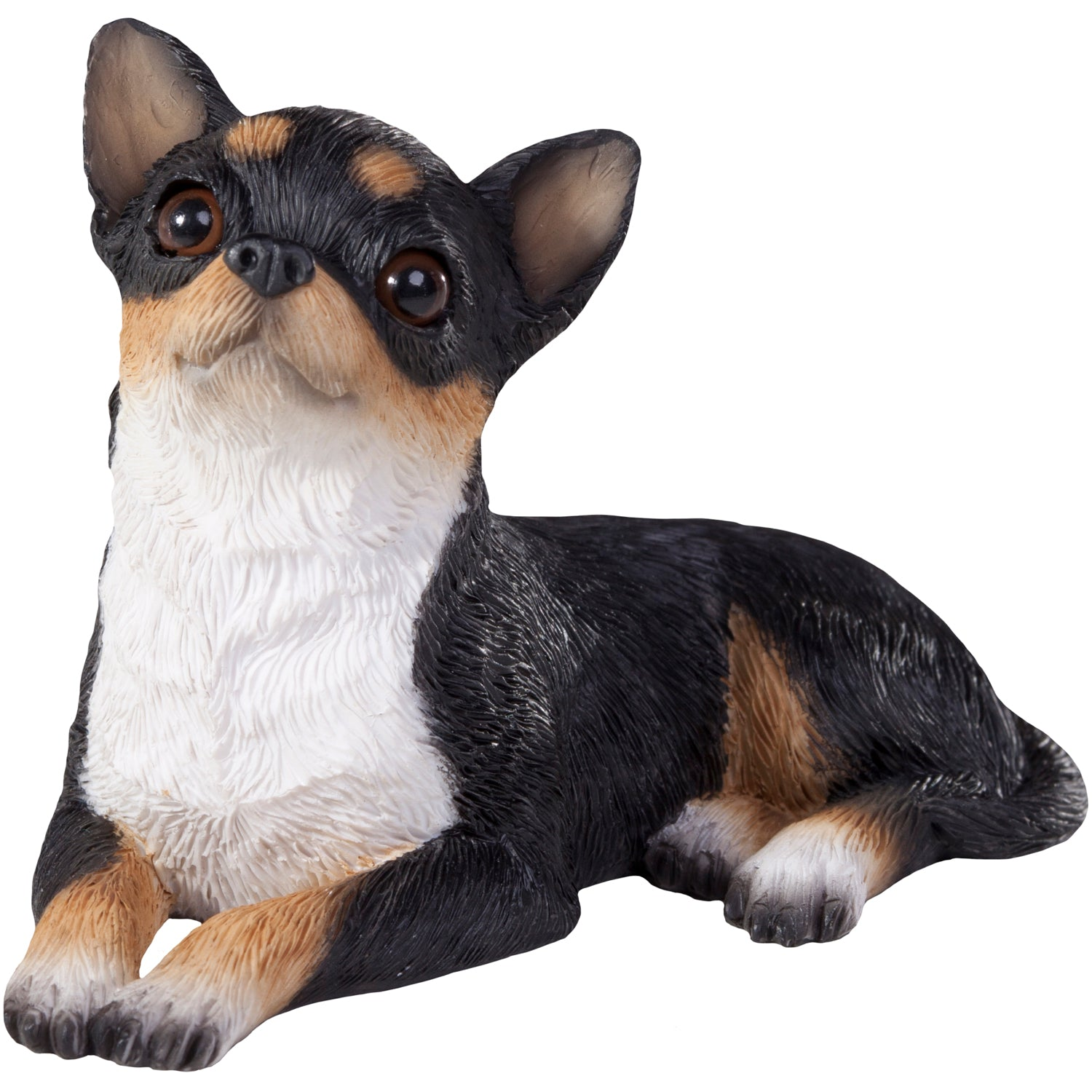 "Sandicast ""Small Size"" Lying Tri Chihuahua Dog Sculpture"