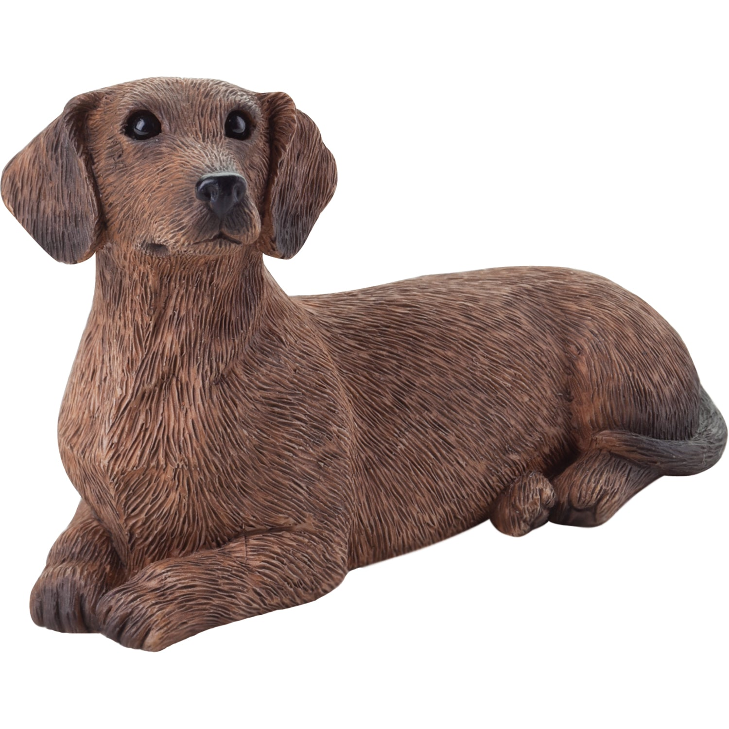 "Sandicast ""Small Size"" Lying Red Dachshund Dog Sculpture"