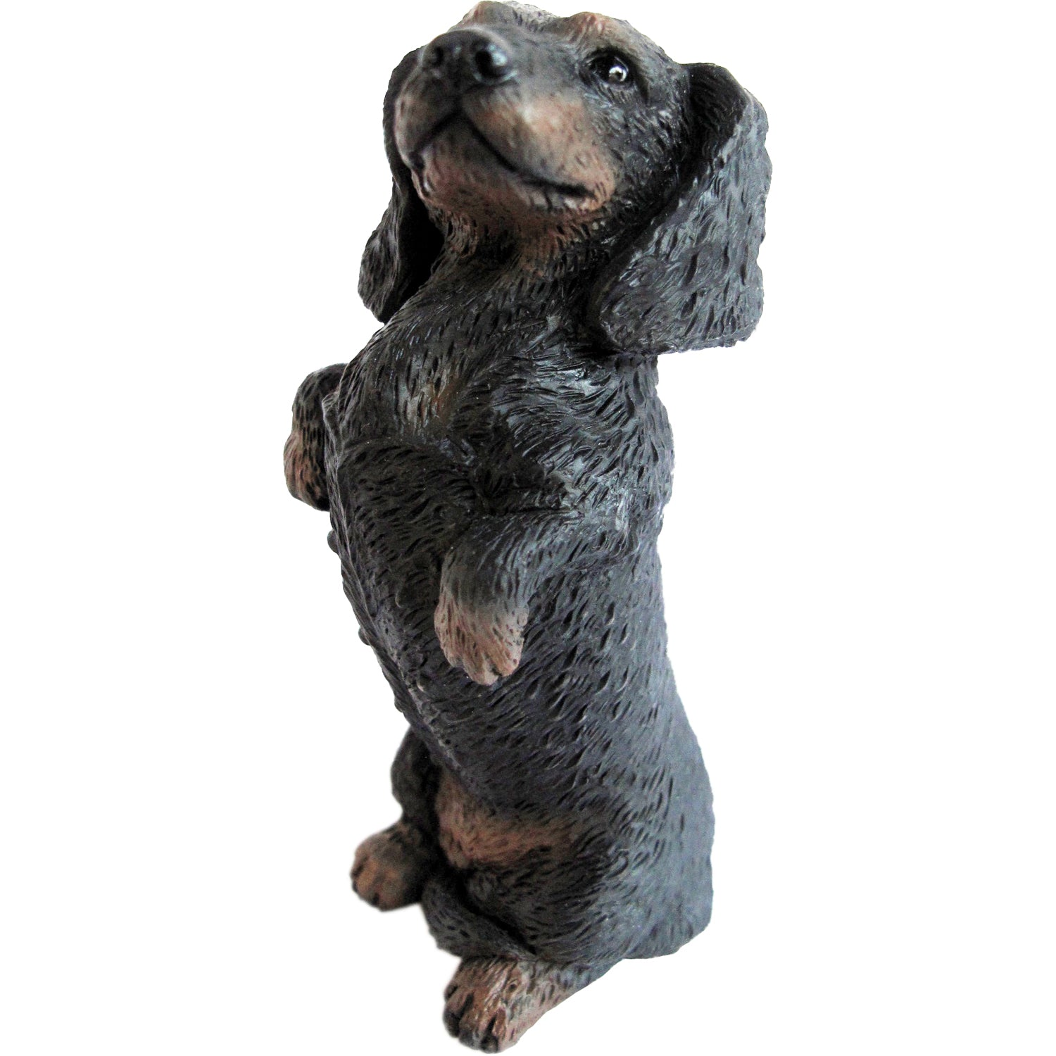 "Sandicast ""Small Size"" Sitting Pretty Black Dachshund Dog Sculpture"
