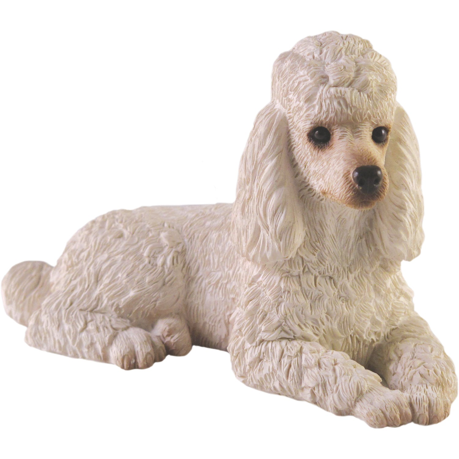 "Sandicast ""Small Size"" Lying White Poodle Dog Sculpture"
