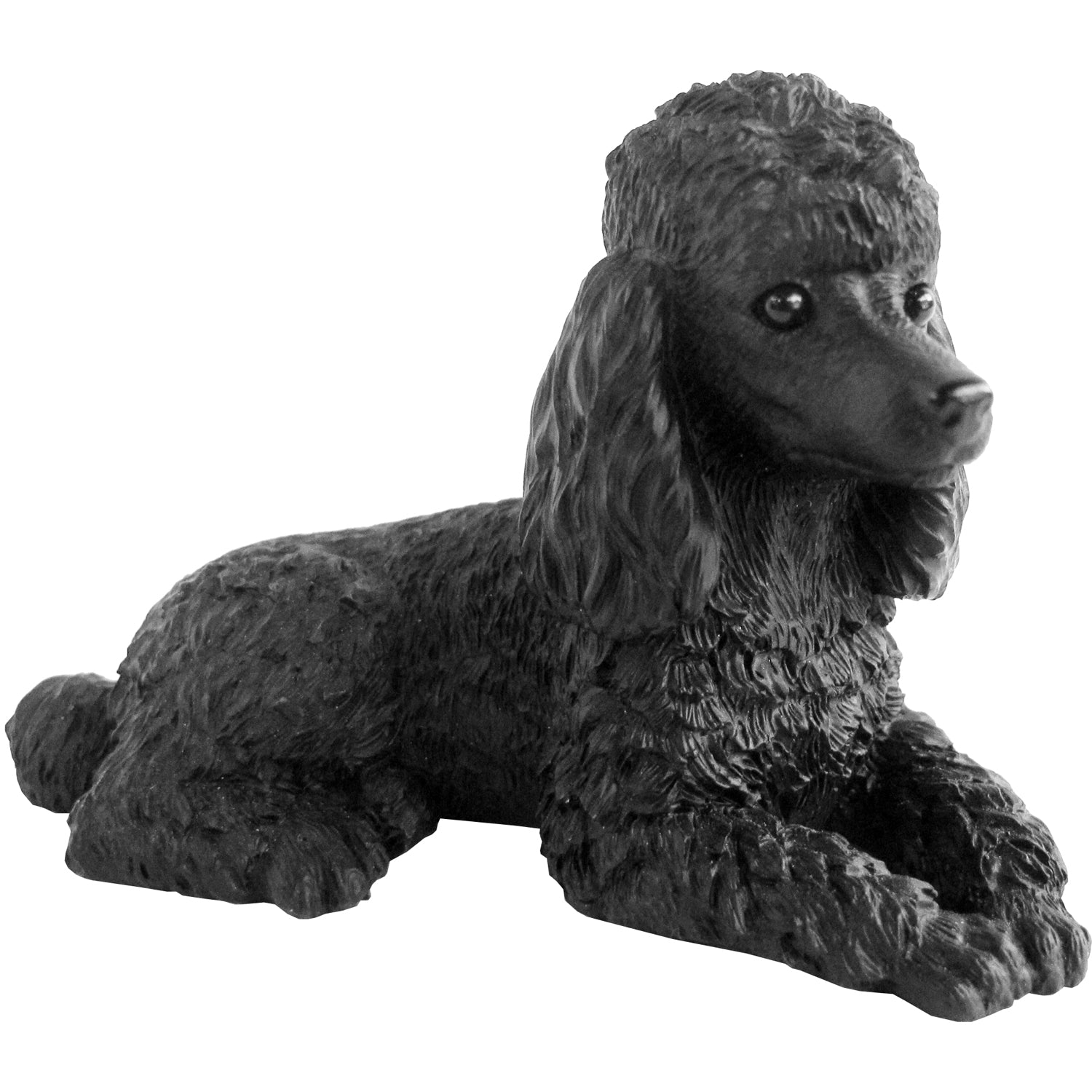 "Sandicast ""Small Size"" Lying Black Poodle Dog Sculpture"