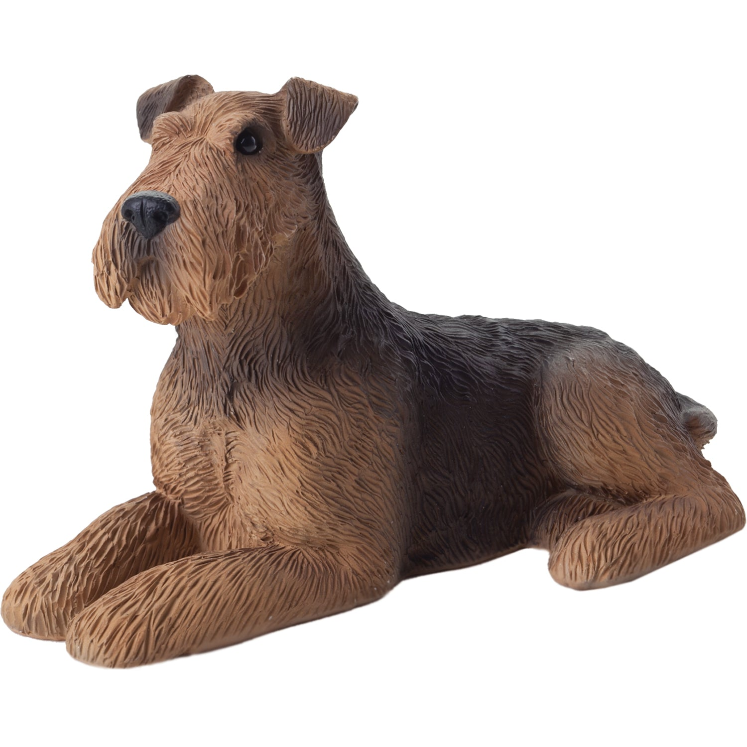 "Sandicast ""Small Size"" Lying Airedale Terrier Dog Sculpture"