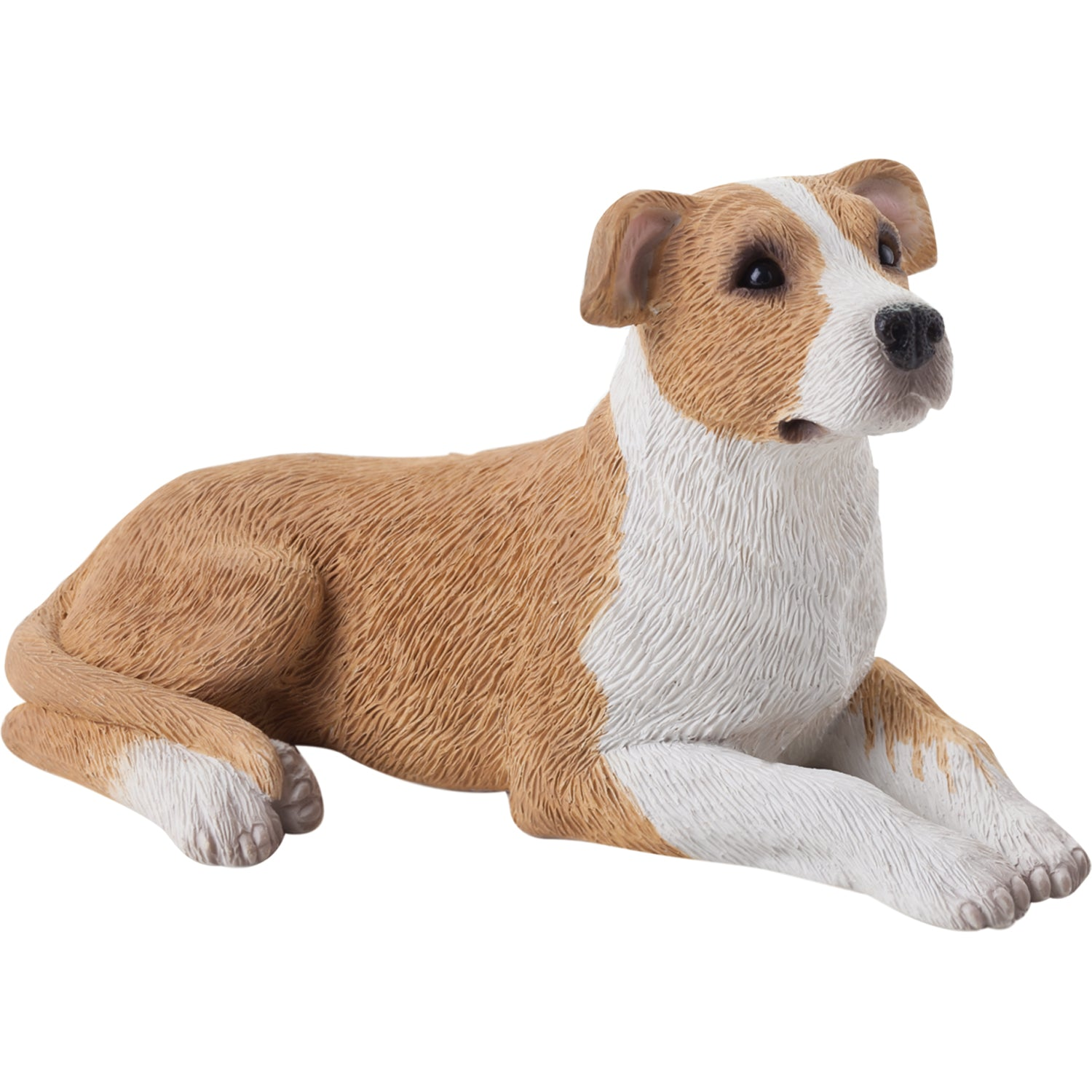 "Sandicast ""Small Size"" Lying Fawn & White UC Pit Bull Terrier Dog Sculpture"