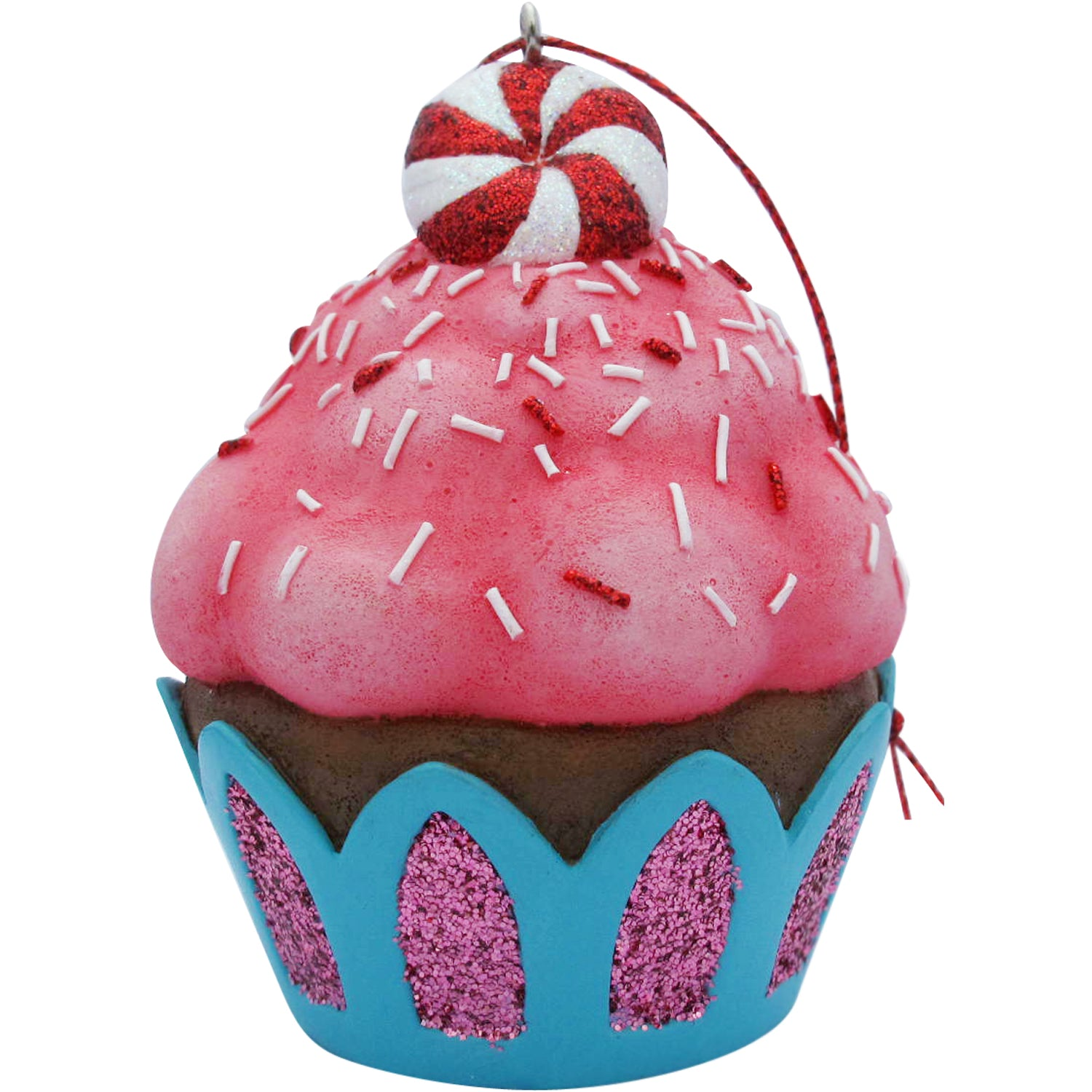 Pink Peppermint Top Cupcake Christmas Tree Ornament