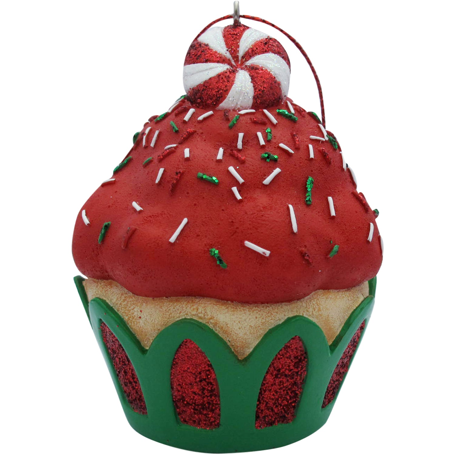 Red Peppermint Top Cupcake Christmas Tree Ornament