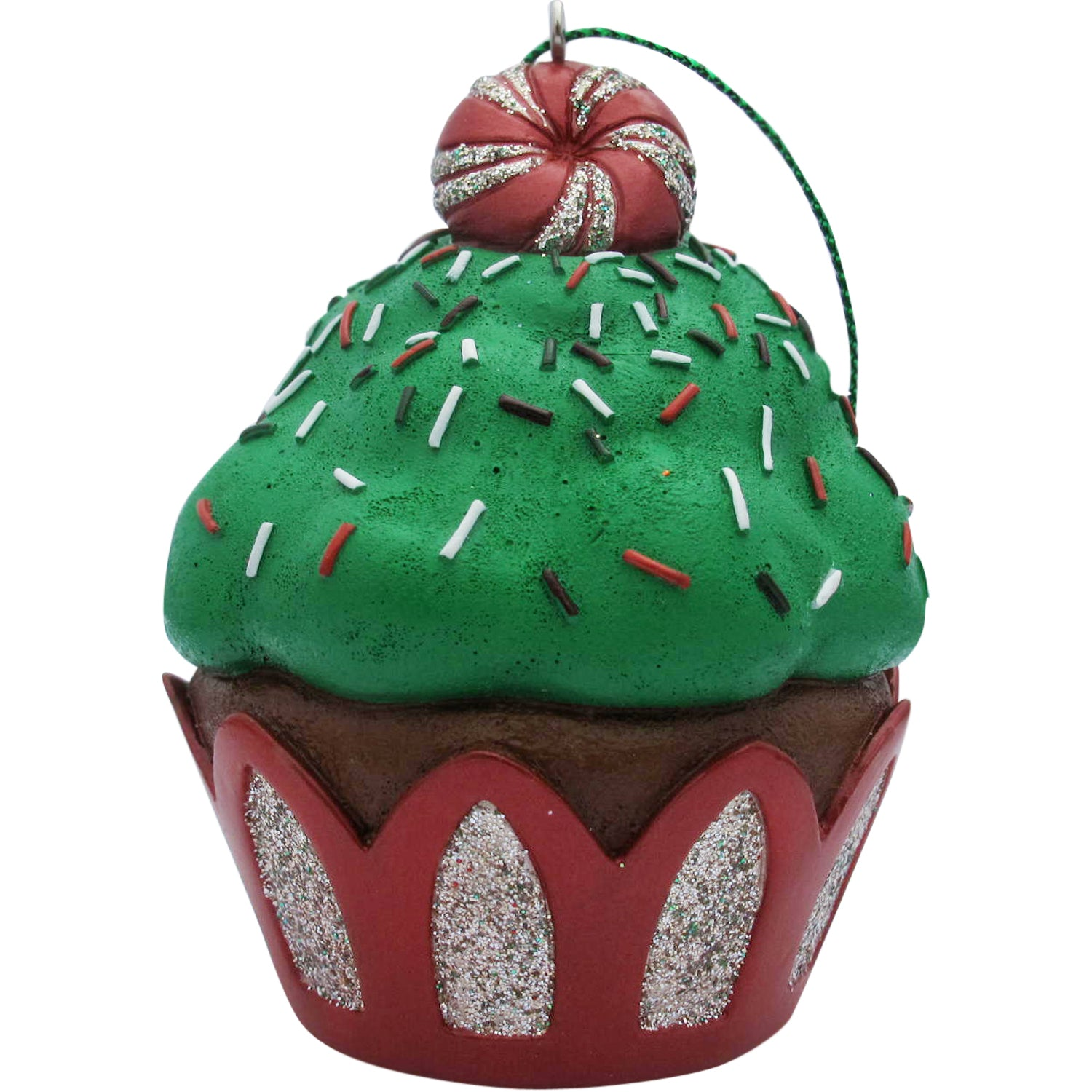 Green Peppermint Top Cupcake Christmas Tree Ornament - Present Paper