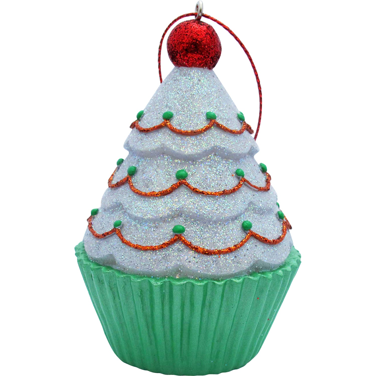 White Tree Top Cupcake Christmas Tree Ornament