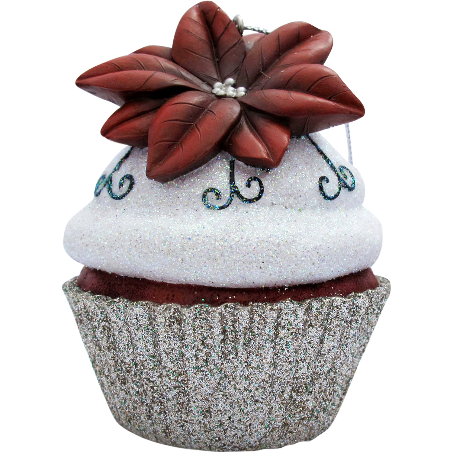 Silver Poinsettia Cupcake Christmas Tree Ornament