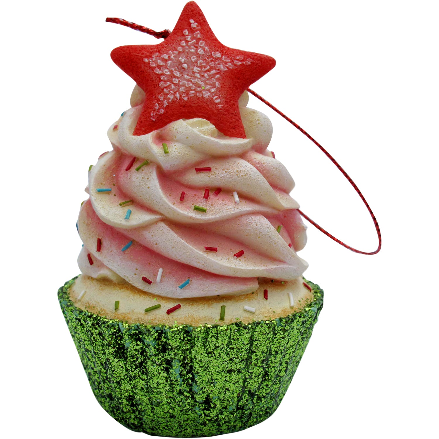 Pink Star Top Cupcake Christmas Tree Ornament