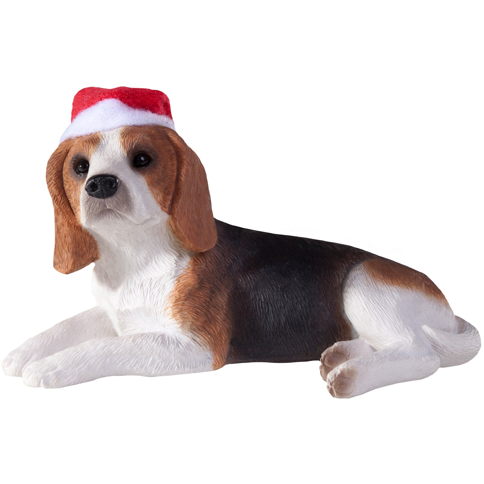 Sandicast Lying Beagle w/ Santa's Hat Christmas Dog Ornament
