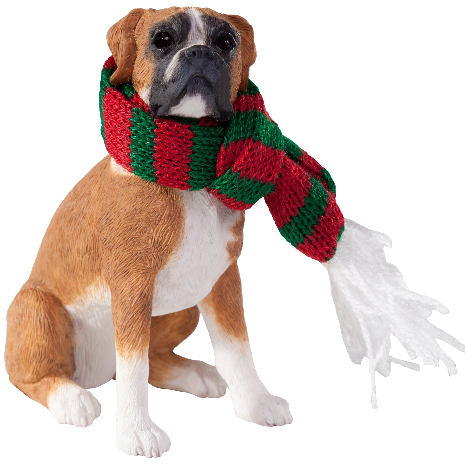 Sandicast Sitting Fawn Boxer w/ Scarf Christmas Dog Ornament