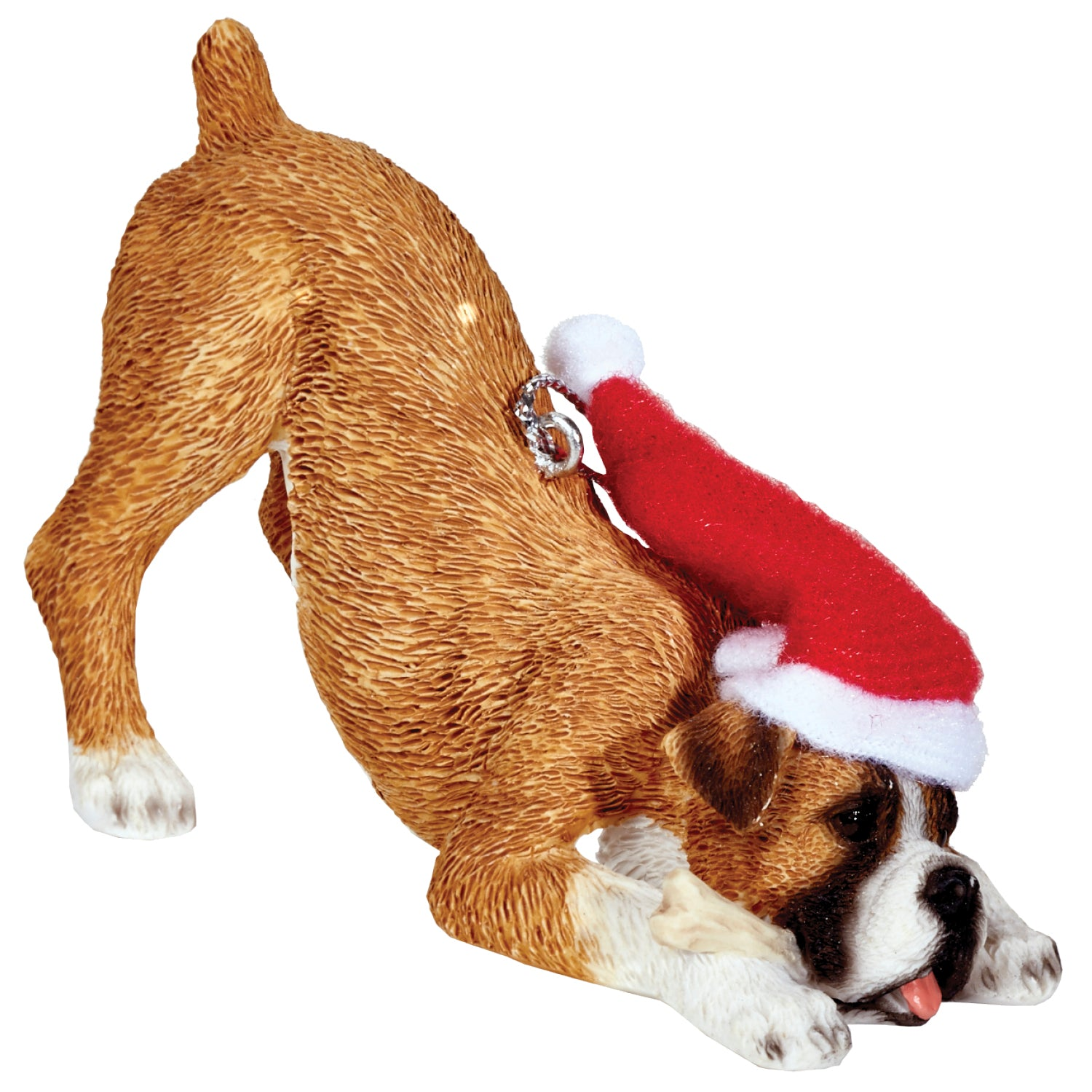 Sandicast Crouching FawnBoxer w/ Santa's Hat Christmas Dog Ornament