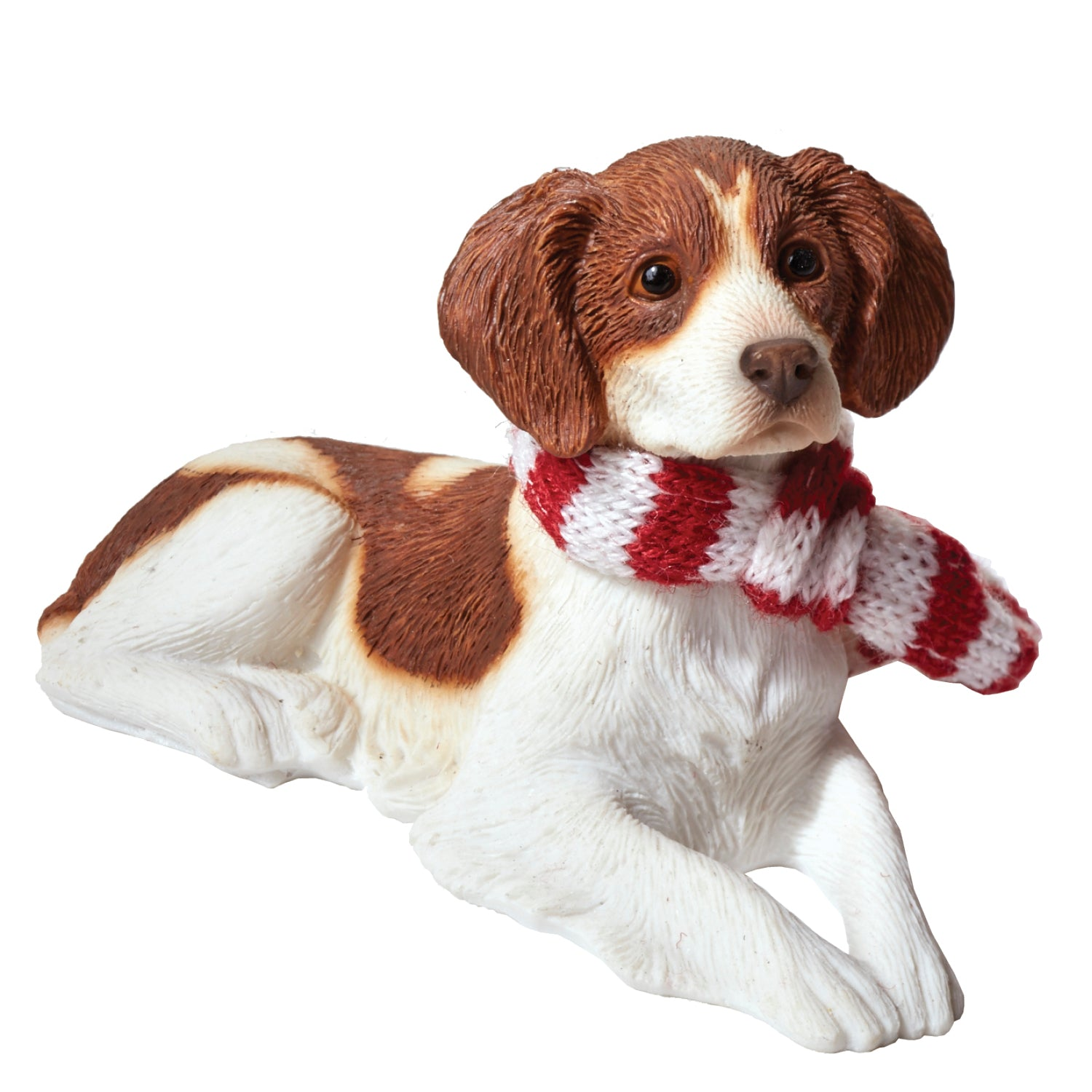 Sandicast Lying Orange & White Brittany w/ Scarf Christmas Dog Ornament
