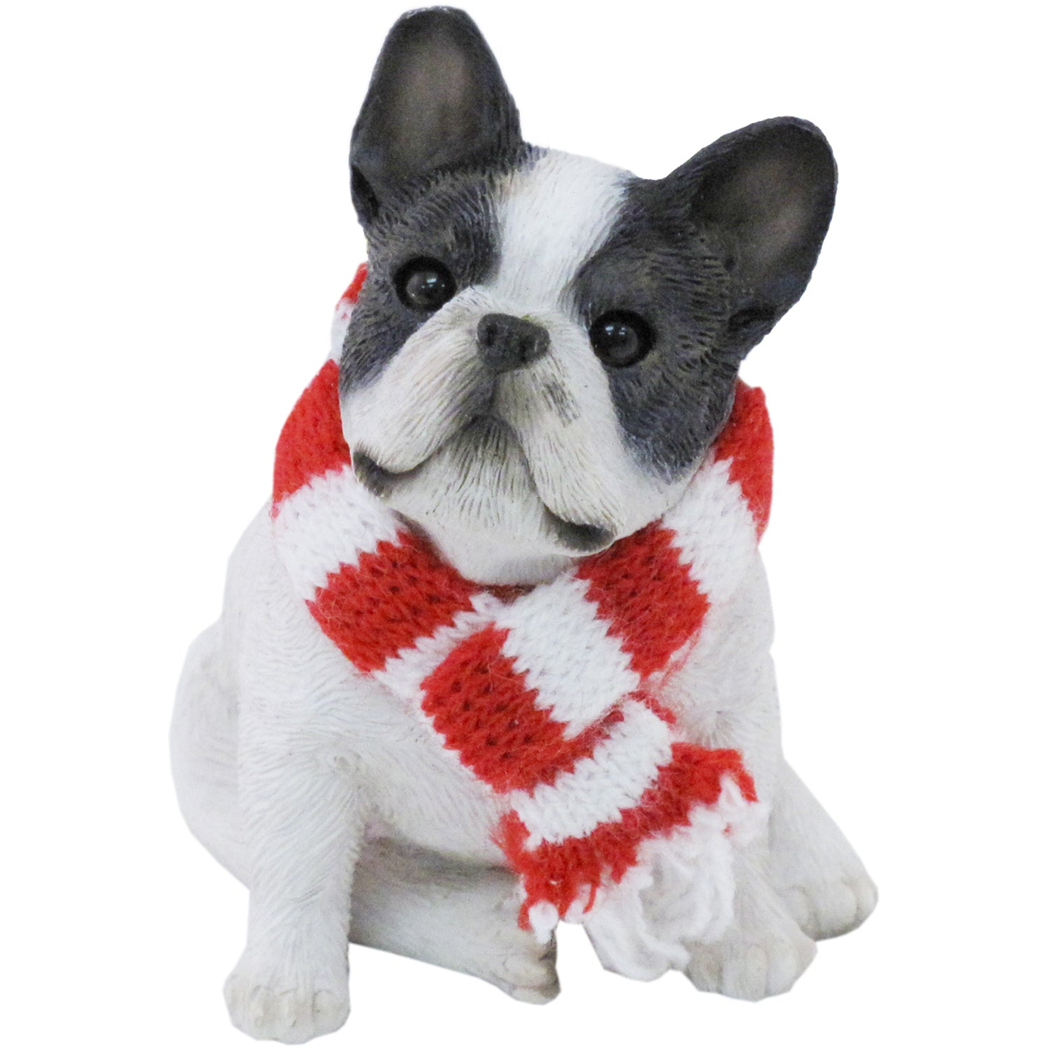 Sandicast Sitting Brindle French Bulldog w/ Scarf Christmas Dog Ornament