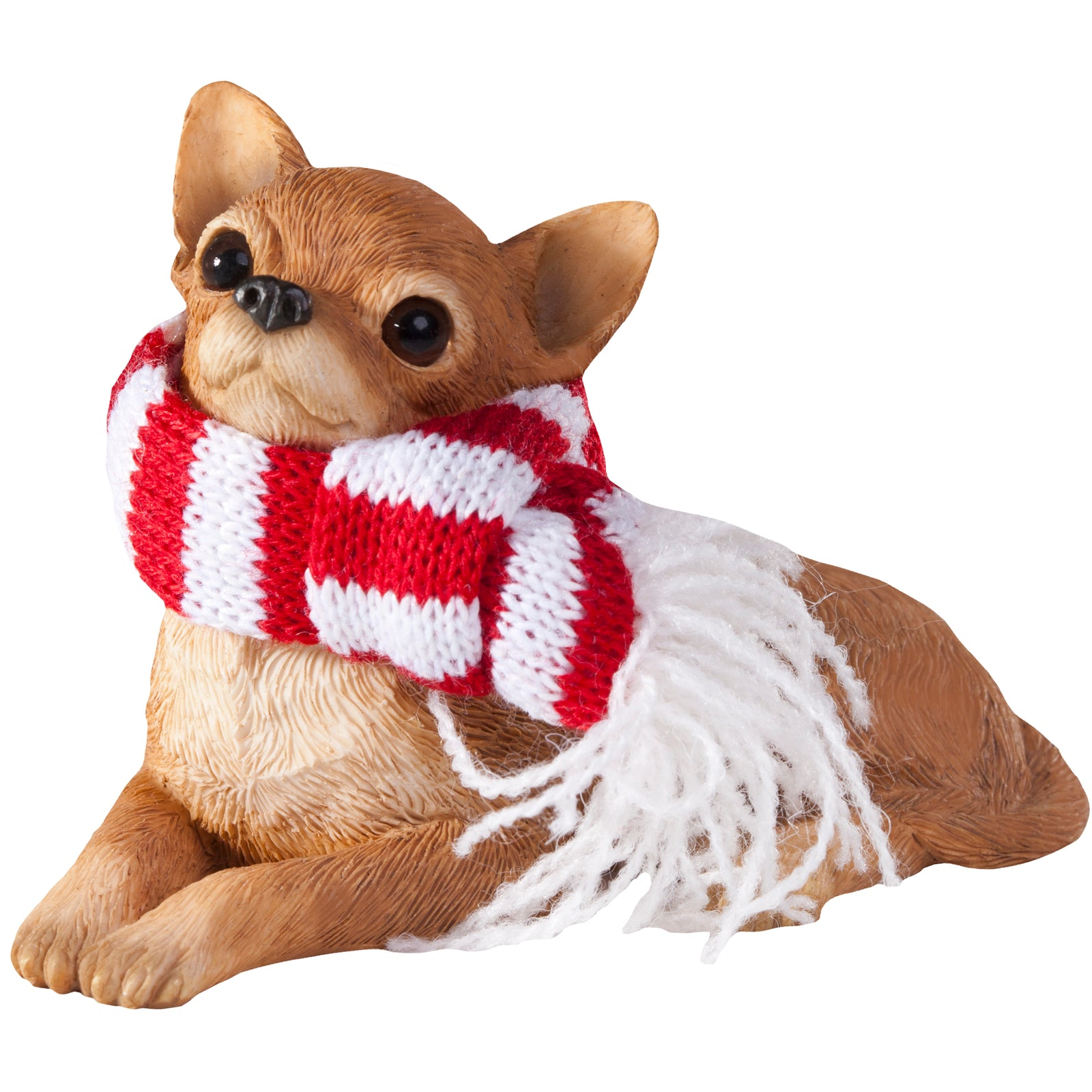 Sandicast Lying Tan Chihuahua w/ Scarf Christmas Dog Ornament