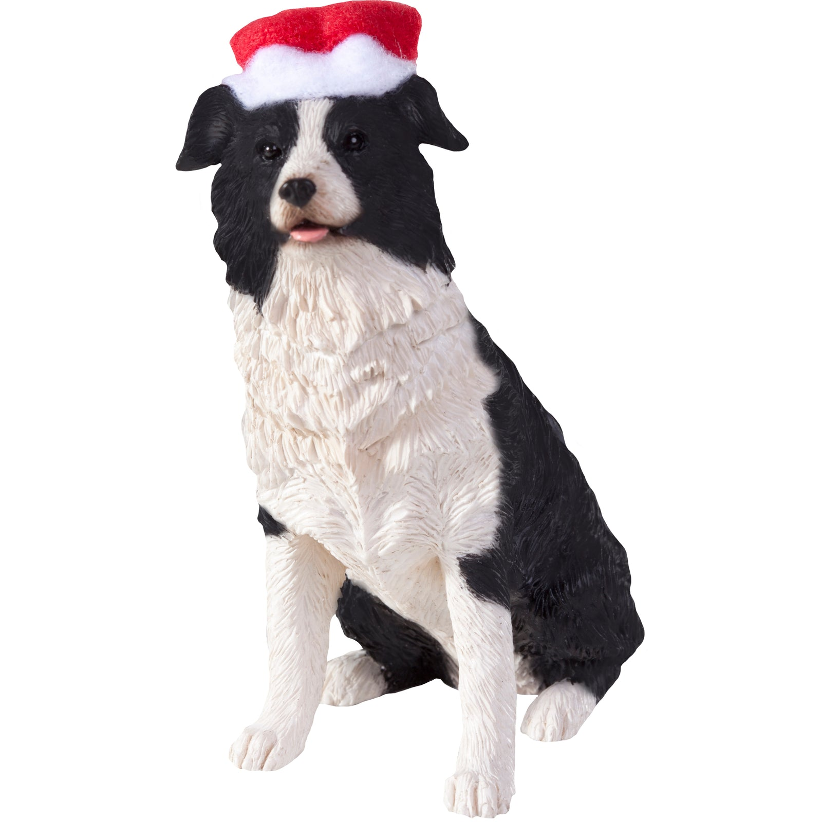 Sandicast Sitting Border Collie w/ Santa's Hat Christmas Dog Ornament