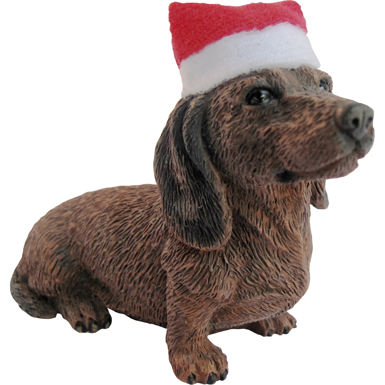 Sandicast Sitting Red Dachshund w/ Santa's Hat Christmas Dog Ornament