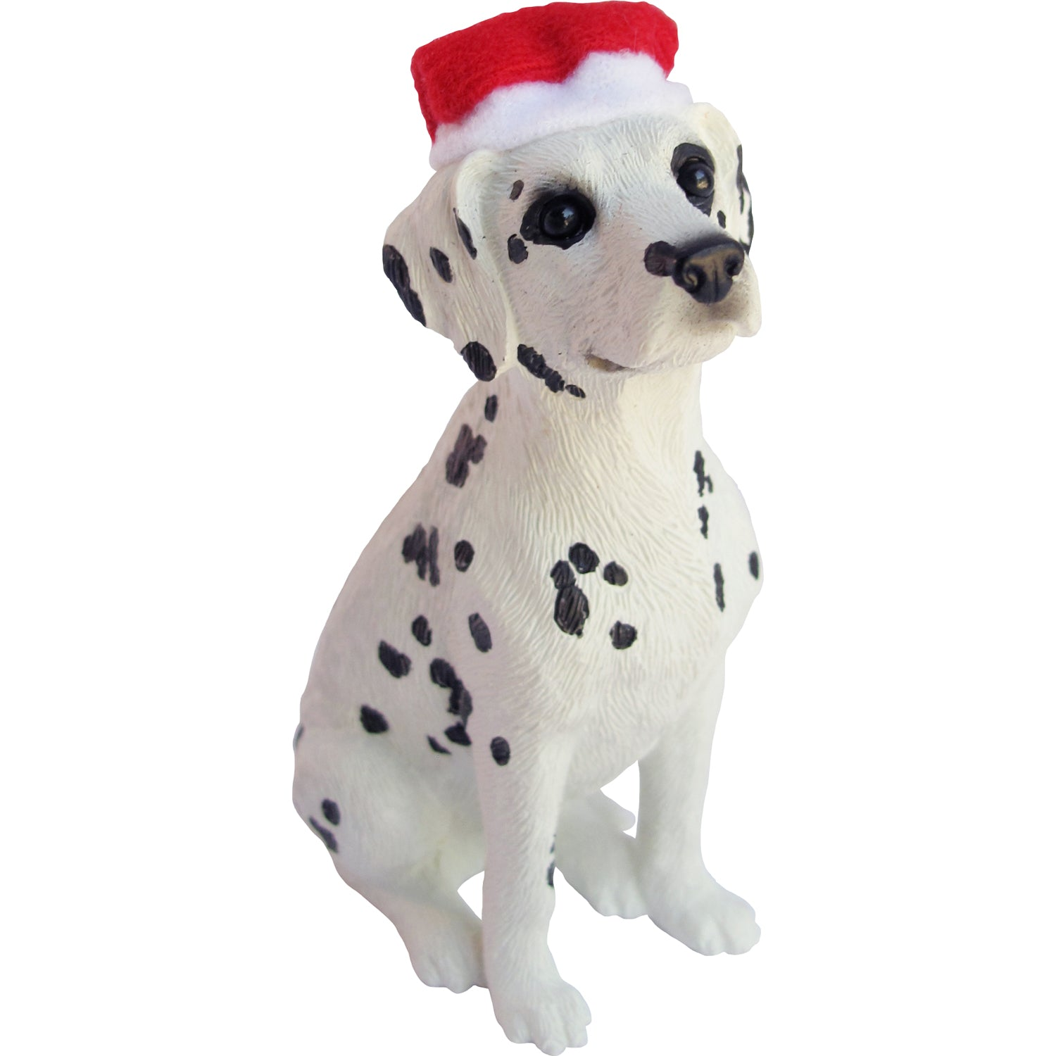 Sandicast Sitting Dalmatian w/ Santa's Hat Christmas Dog Ornament