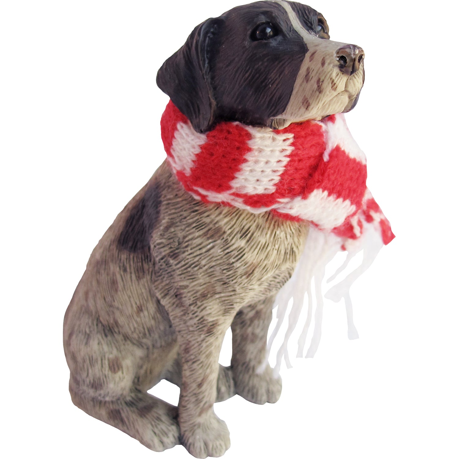 Sandicast Sitting German Shorthaired Pointer w/ Scarf Christmas Dog Ornament