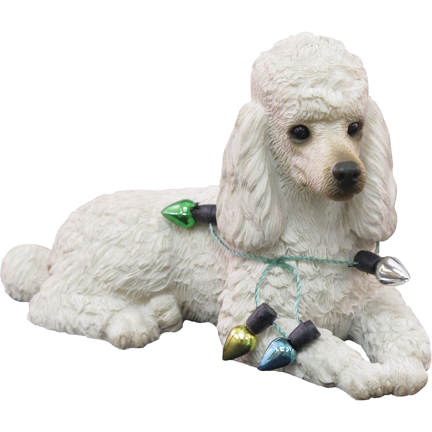 Sandicast Lying White Poodle w/ Lights Christmas Dog Ornament