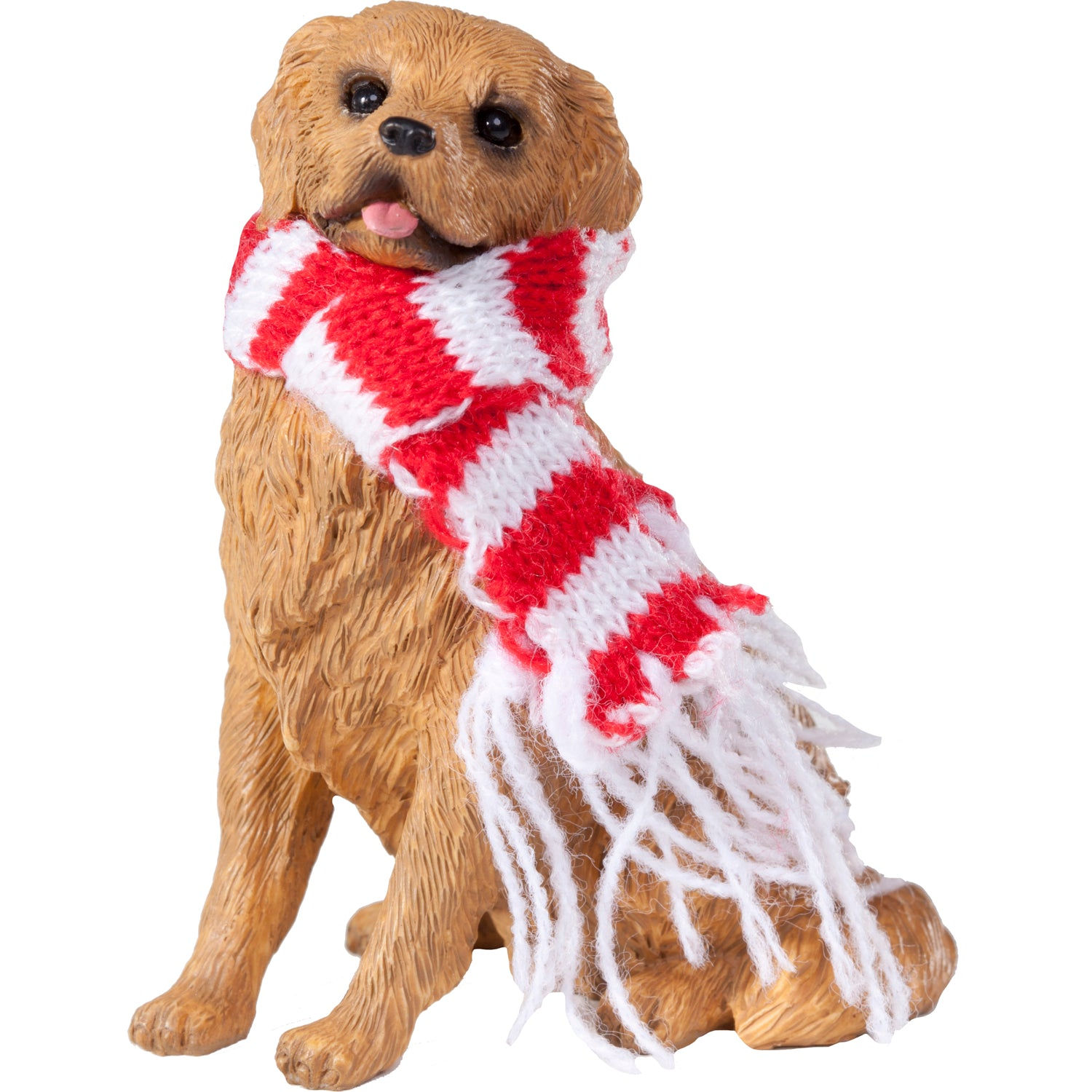 Sandicast Sitting Golden Retriever w/ Scarf Christmas Dog Ornament
