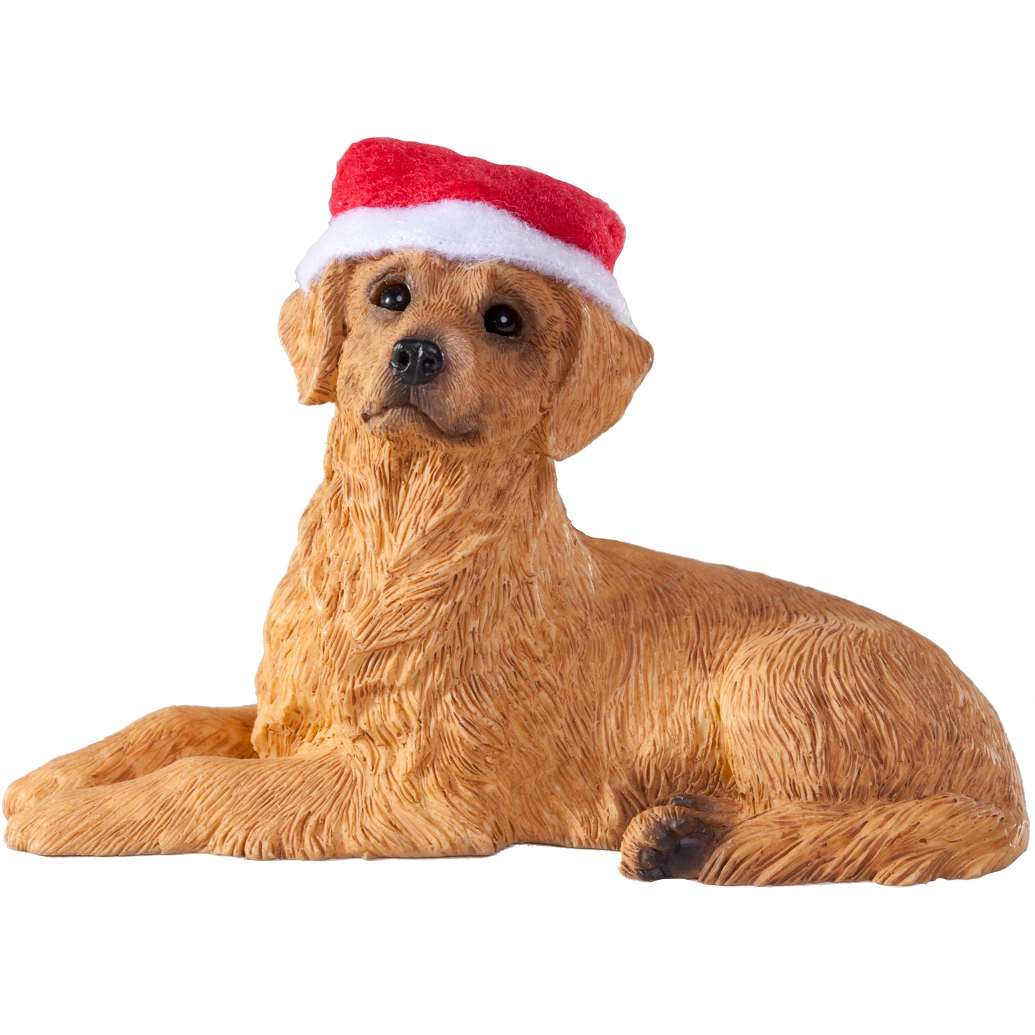 Sandicast Lying Golden Retriever w/ Santa's Hat Christmas Dog Ornament