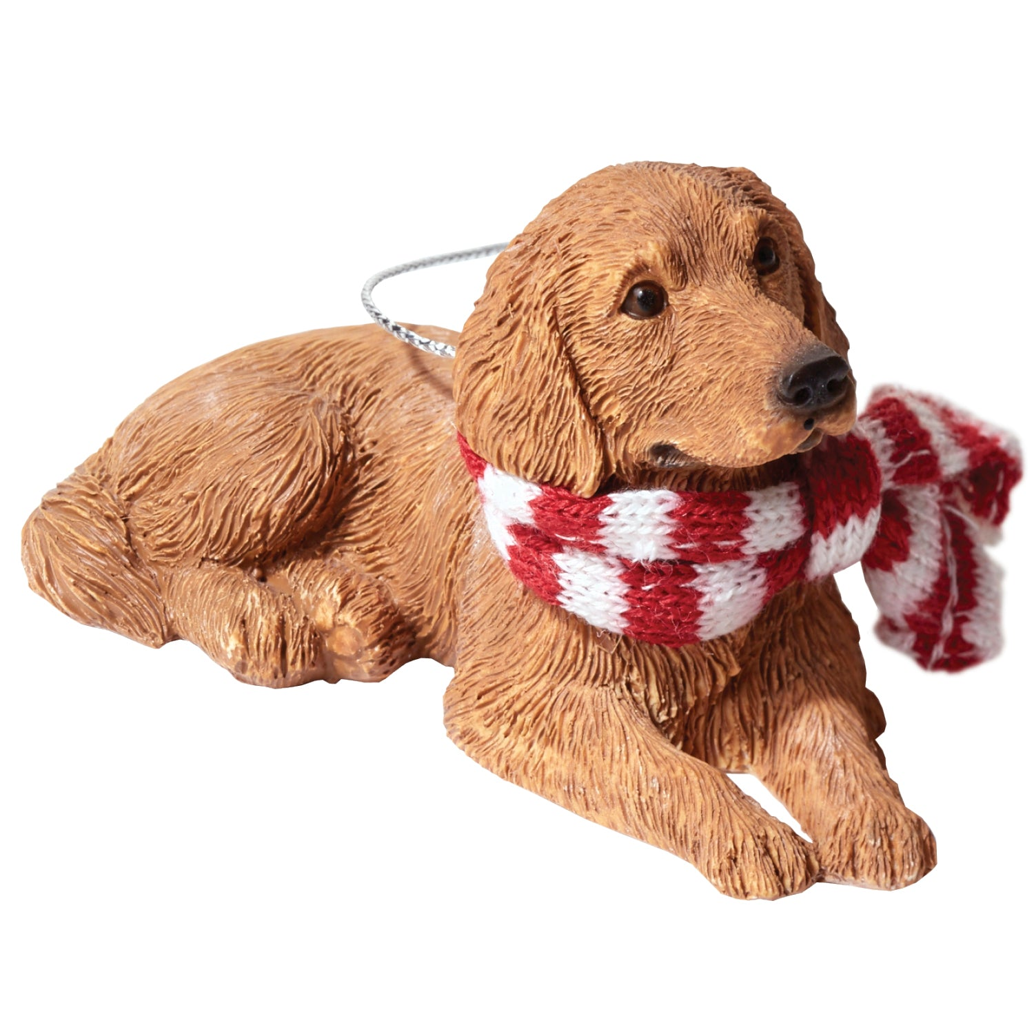 Sandicast Lying Golden Retriever w/ Scarf Christmas Dog Ornament