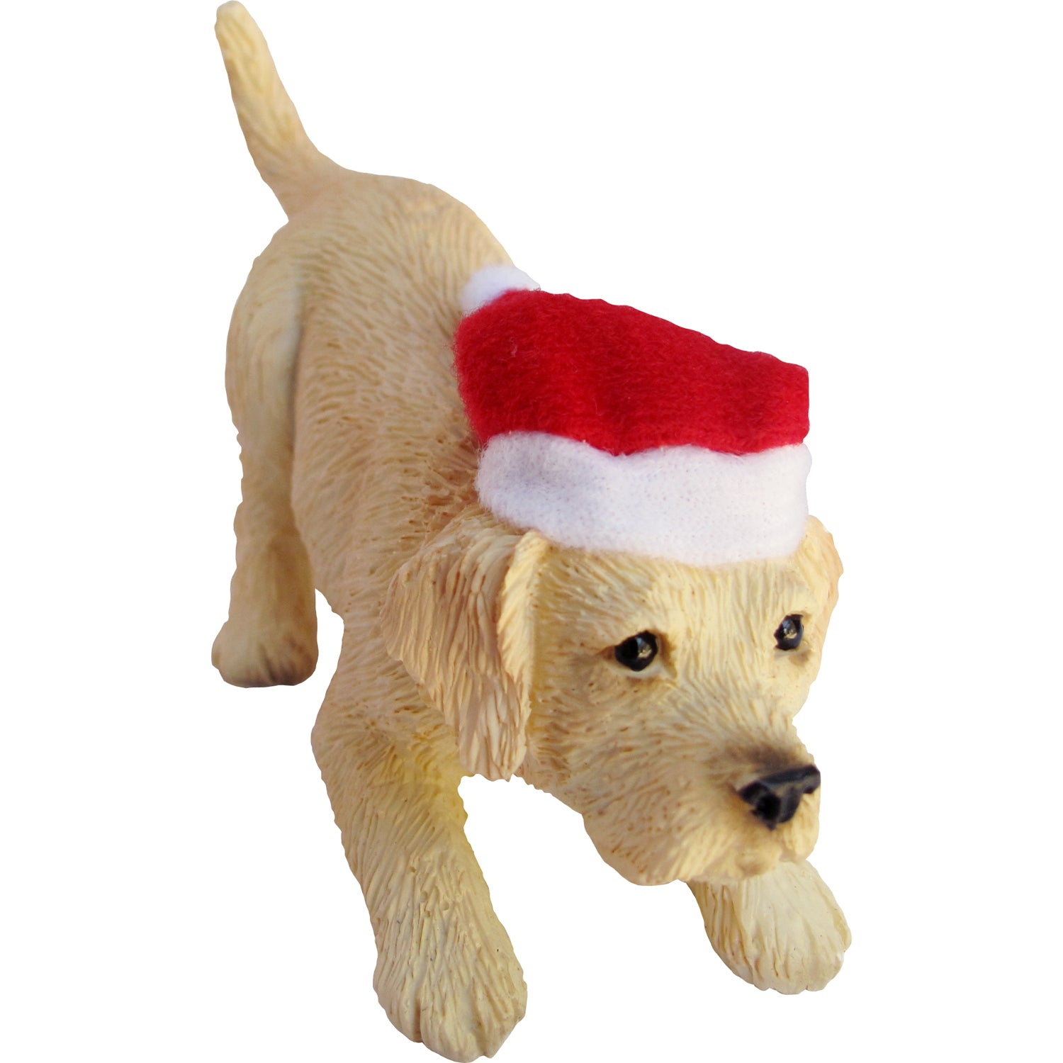 Sandicast Crouching Yellow Labrador Retriever w/ Santa's Hat Christmas Ornament
