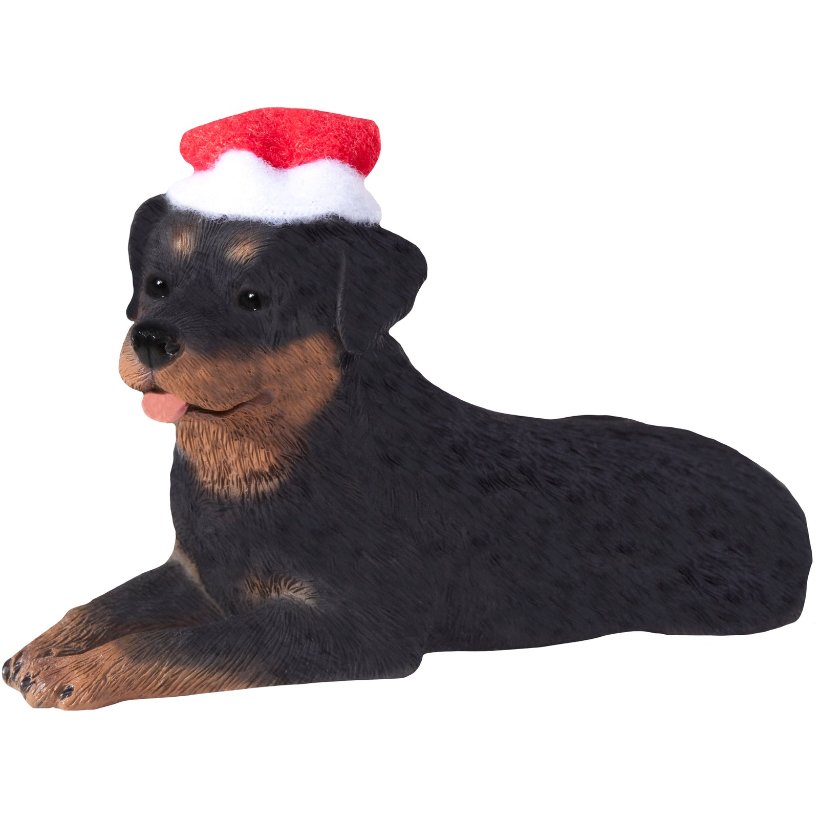 Sandicast Lying Rottweiler w/ Santa's Hat Christmas Dog Ornament