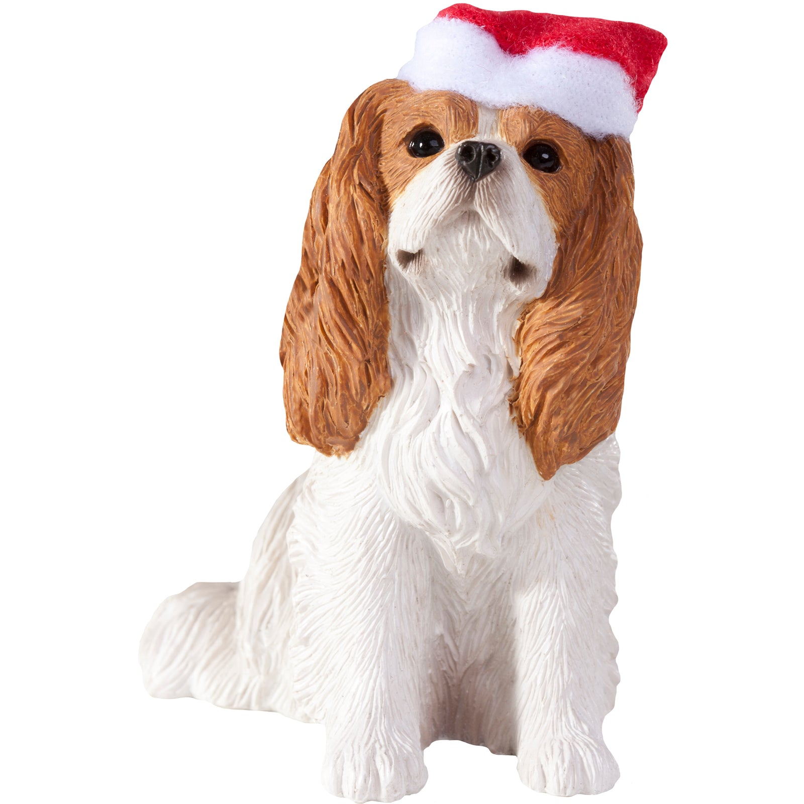 Sandicast Sitting Cavalier King Charles w/ Santa's Hat Christmas Dog Ornament