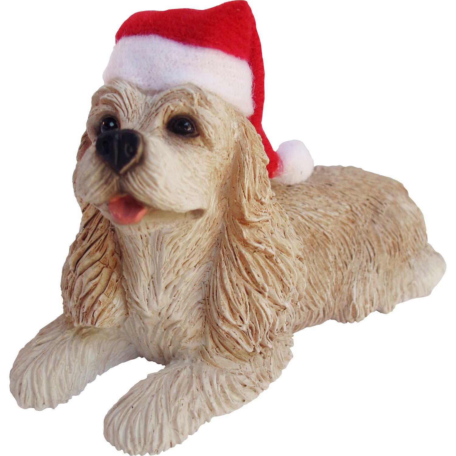 Sandicast Lying Buff Cocker Spaniel w/ Santa's Hat Christmas Dog Ornament