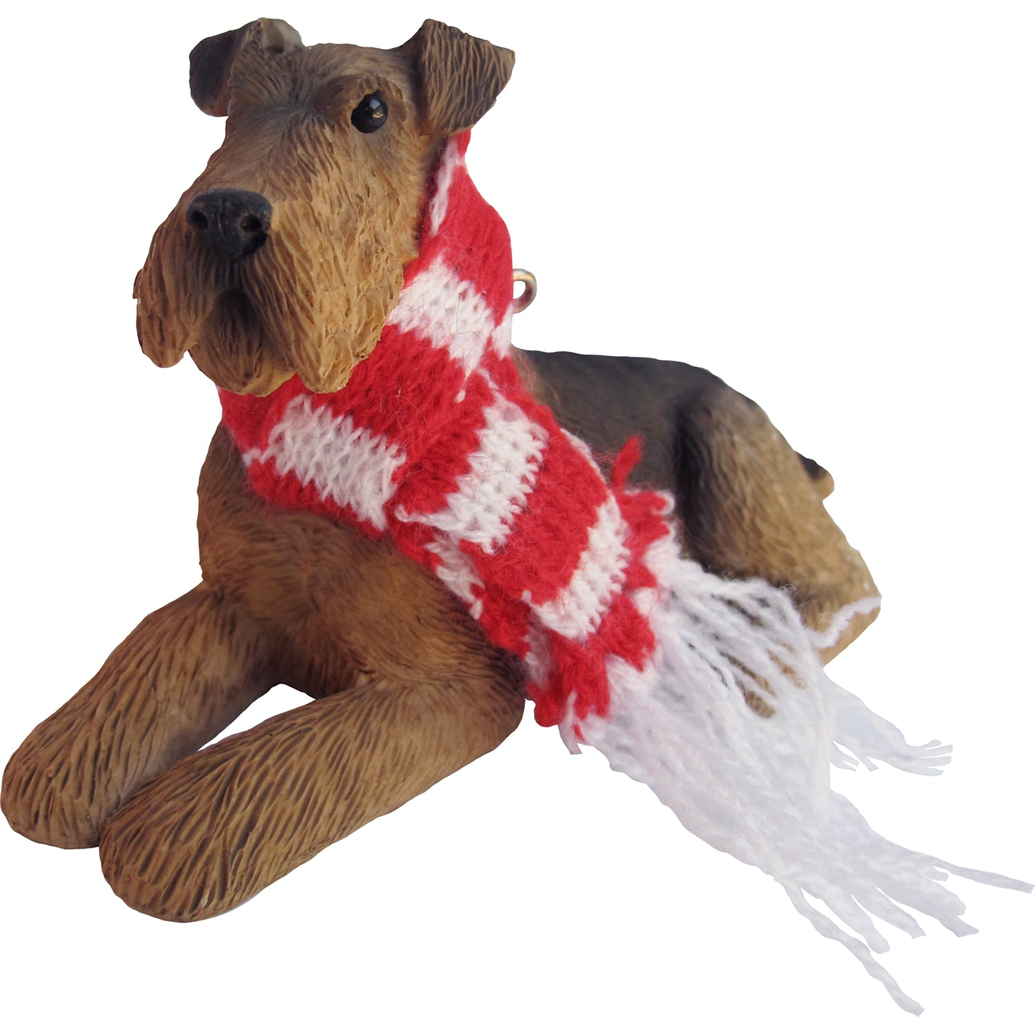 Sandicast Lying Airedale Terrier w/ Scarf Christmas Dog Ornament