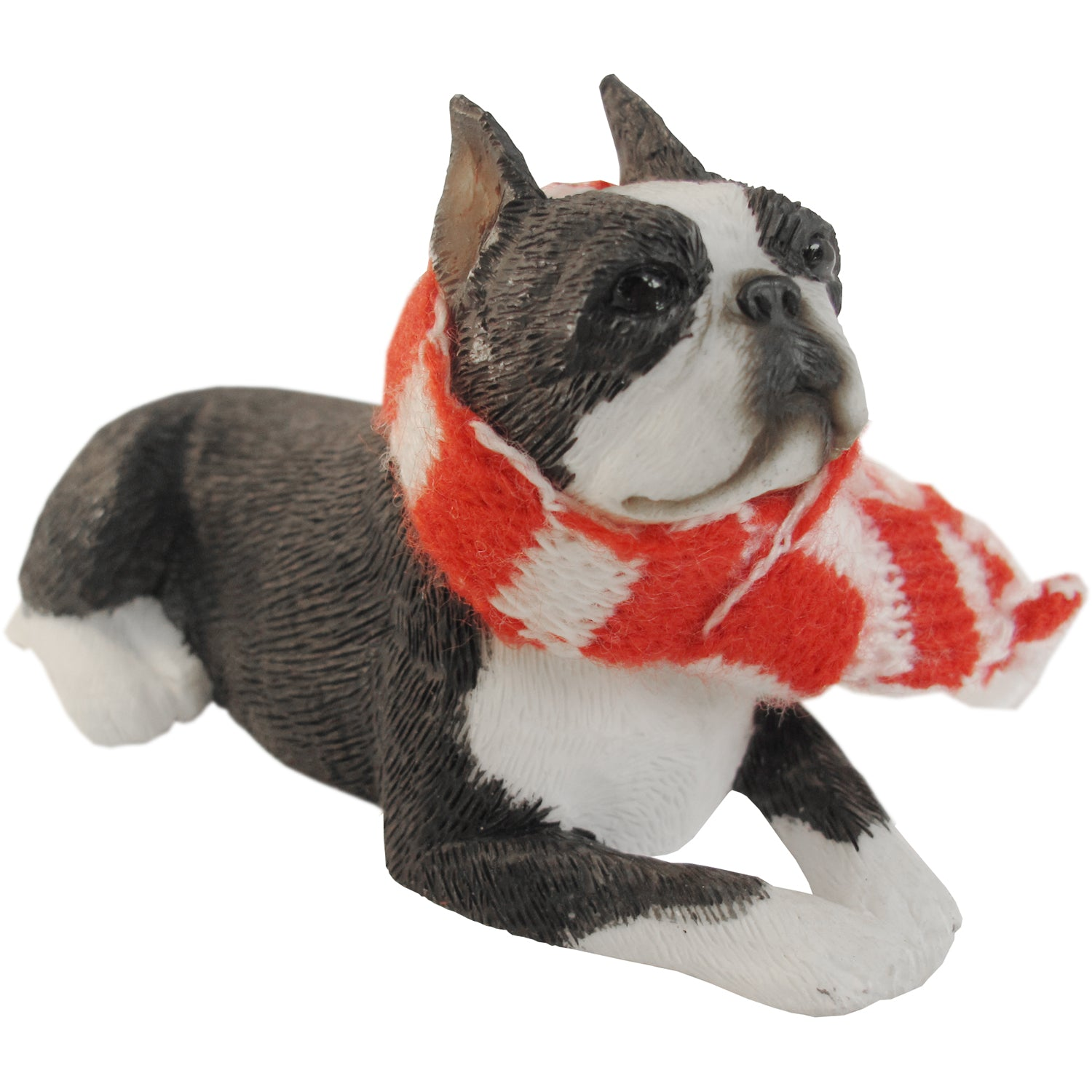 Sandicast Lying Boston Terrier w/ Scarf Christmas Dog Ornament