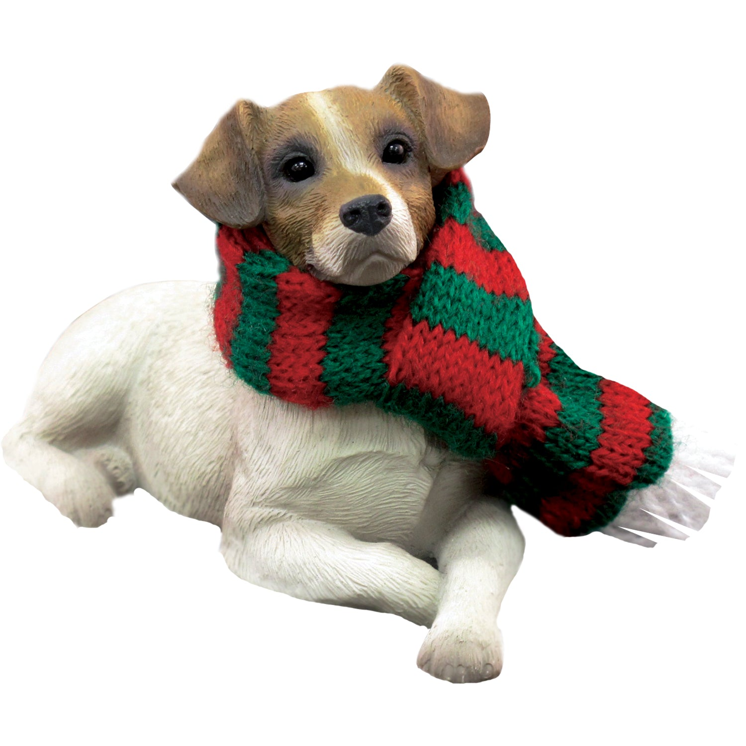 Sandicast Lying Brown Jack Russell Terrier w/ Scarf Christmas Dog Ornament
