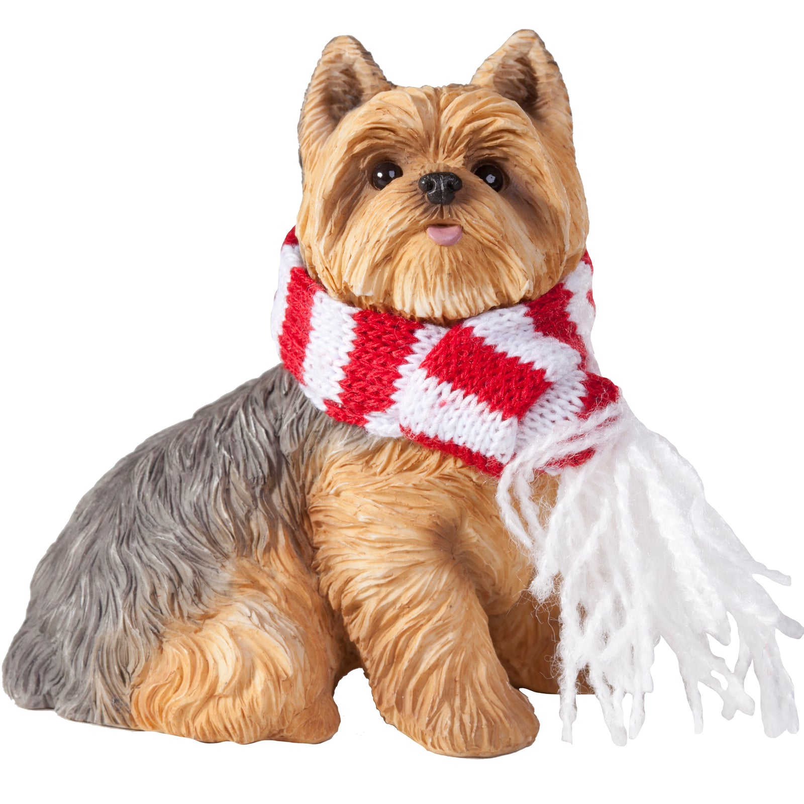 Sandicast Sitting Yorkshire Terrier w/ Scarf Christmas Dog Ornament