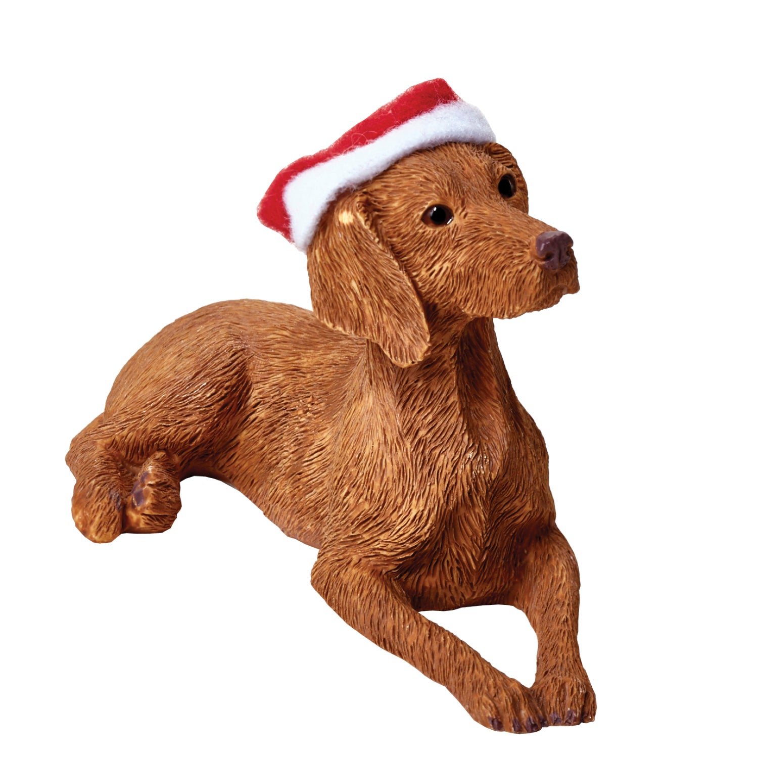 Sandicast Lying Vizsla w/ Santa's Hat Christmas Dog Ornament
