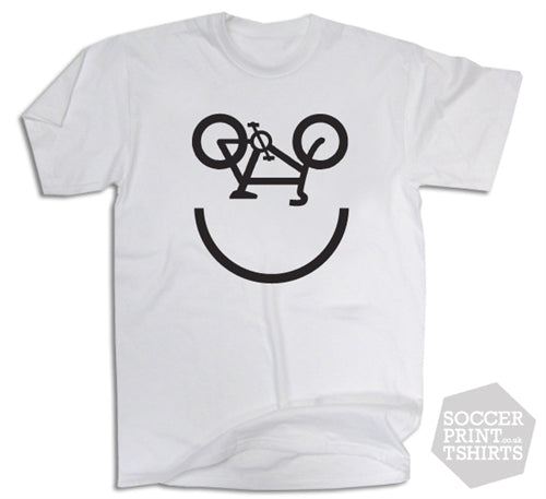 Funny Bicycle Smiley Face Cycling Bike T-Shirt