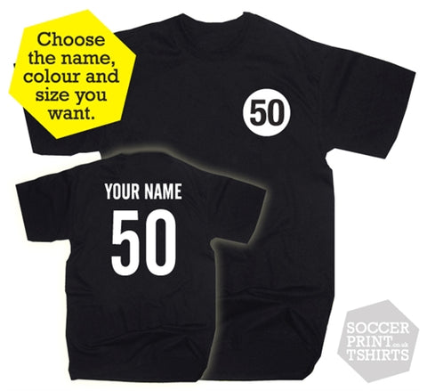 50th Birthday Name & Number Fifty Gift Present T-Shirt